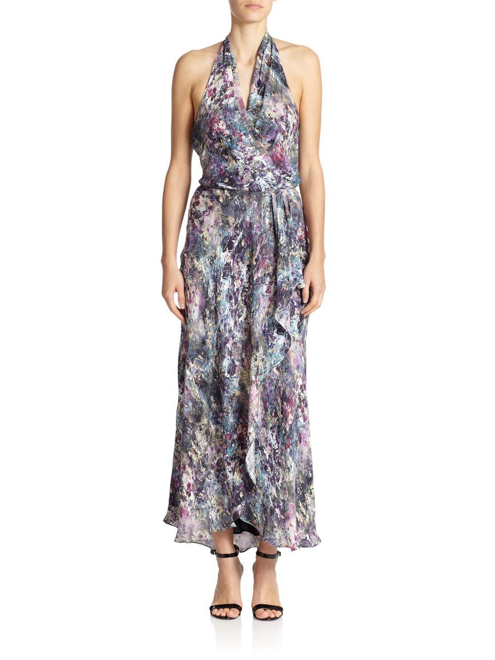 fde1947b073dc Lyst - Haute Hippie Printed Silk Halter Wrap Dress