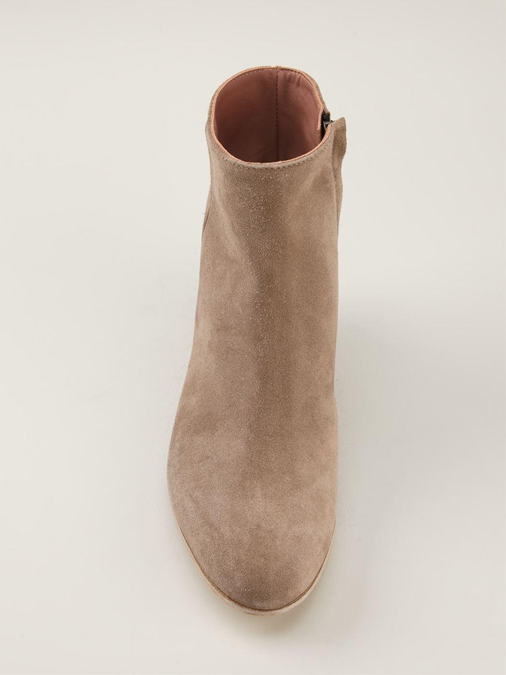 beige suede block heel ankle boots