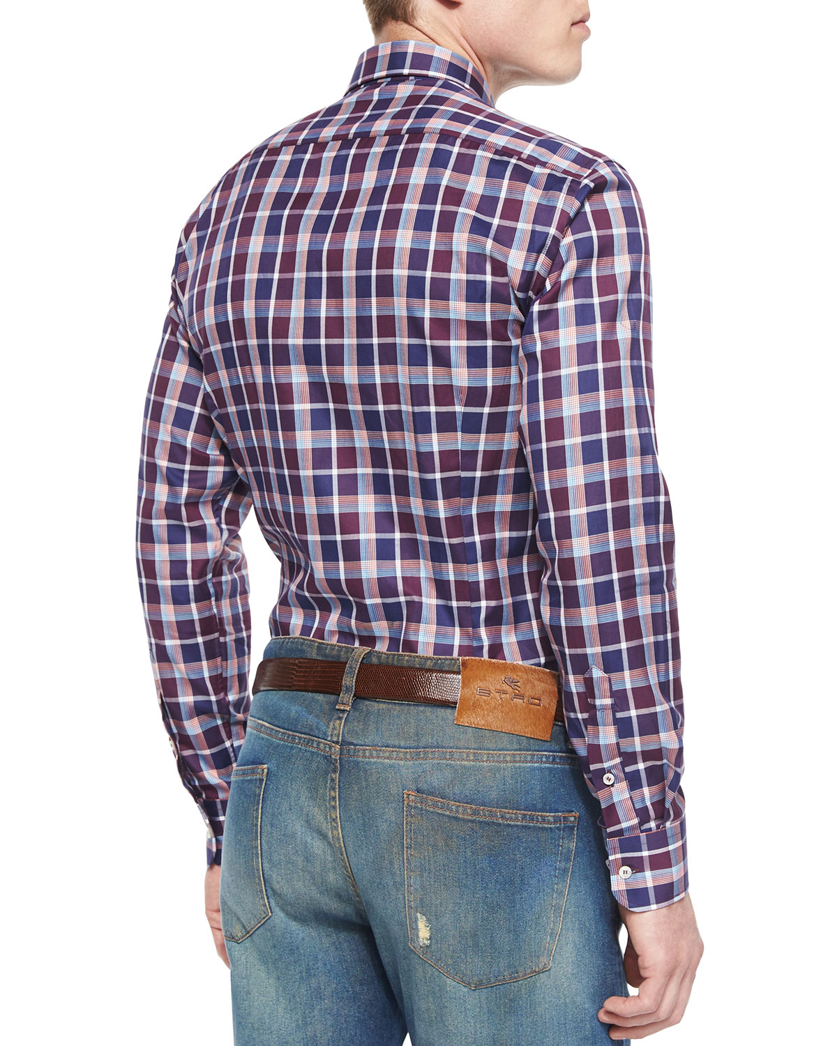 Lyst etro plaid long sleeve sport shirt in purple for Plaid shirt long sleeve