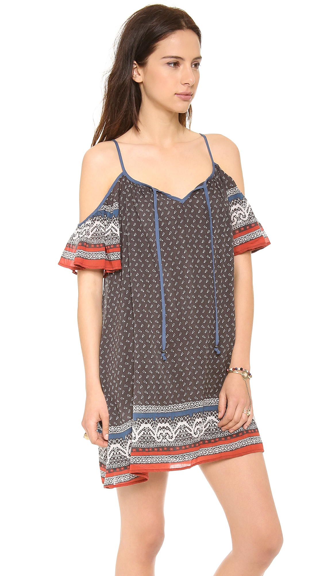 Free People Printed Cold Shoulder Dress Lyst