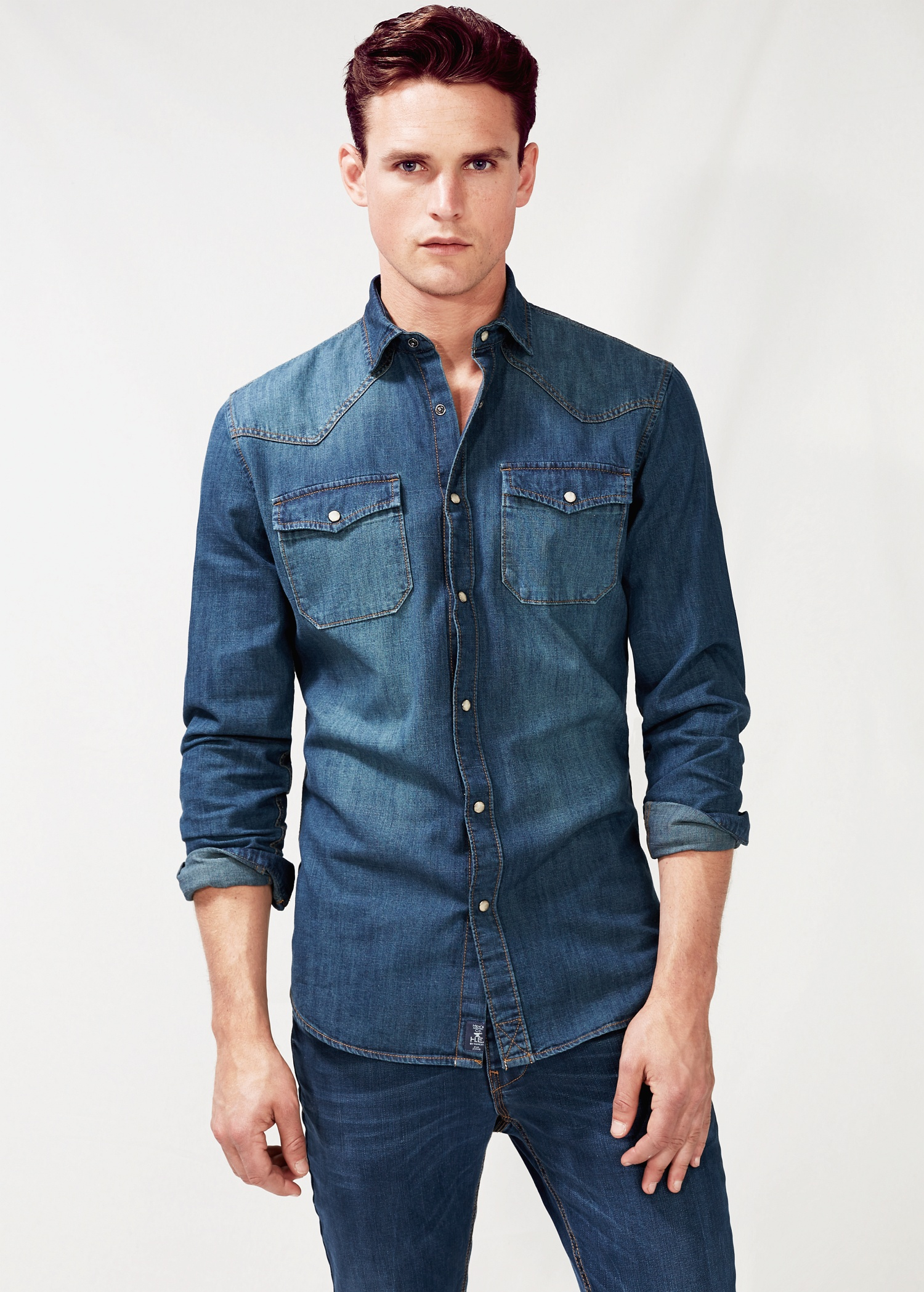 Men's Denim Shirts Step up your style and always look good in this season's failsafe denim shirt. Available in a range of washes and collar styles including button-down collar, this % cotton shirt looks good done up or layered over a plain tee.