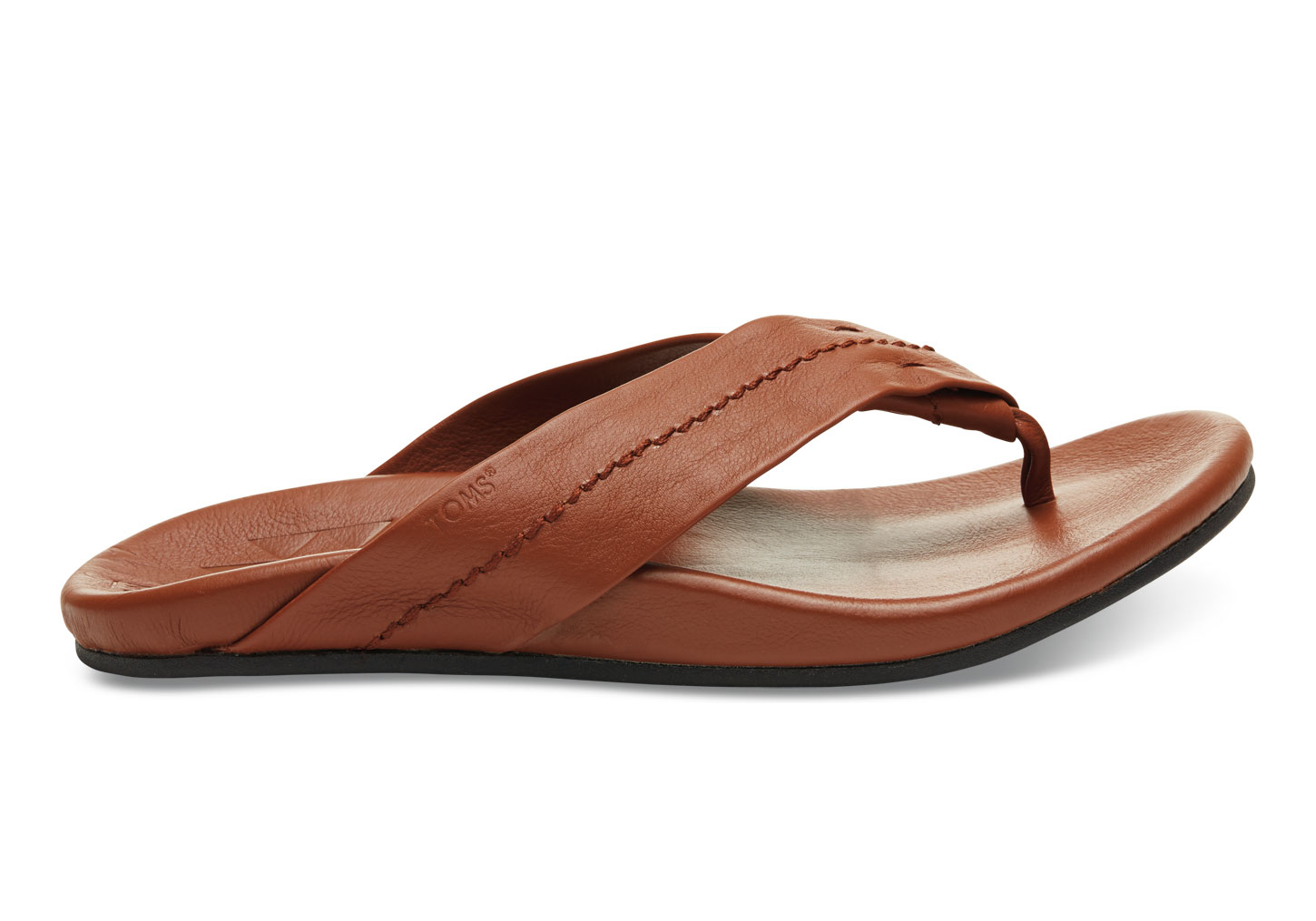 3b0e581a51 TOMS Brown Full-grain Leather Men's Semana Flip Flops in Brown for ...