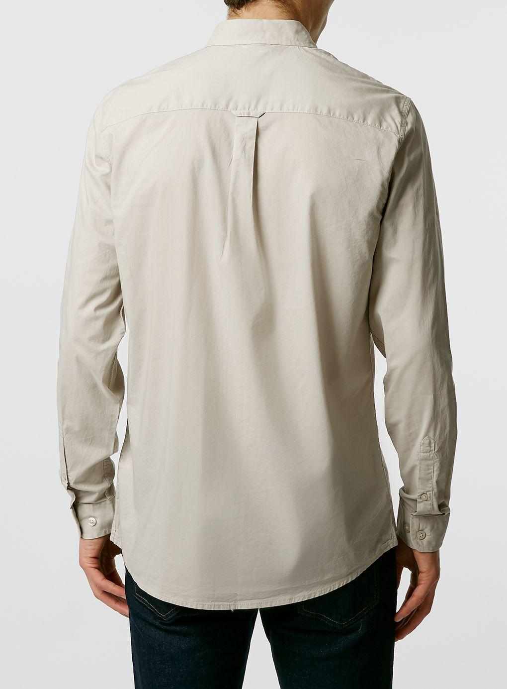Lyst topman long sleeve poplin shirt in natural for men for Long sleeve poplin shirt