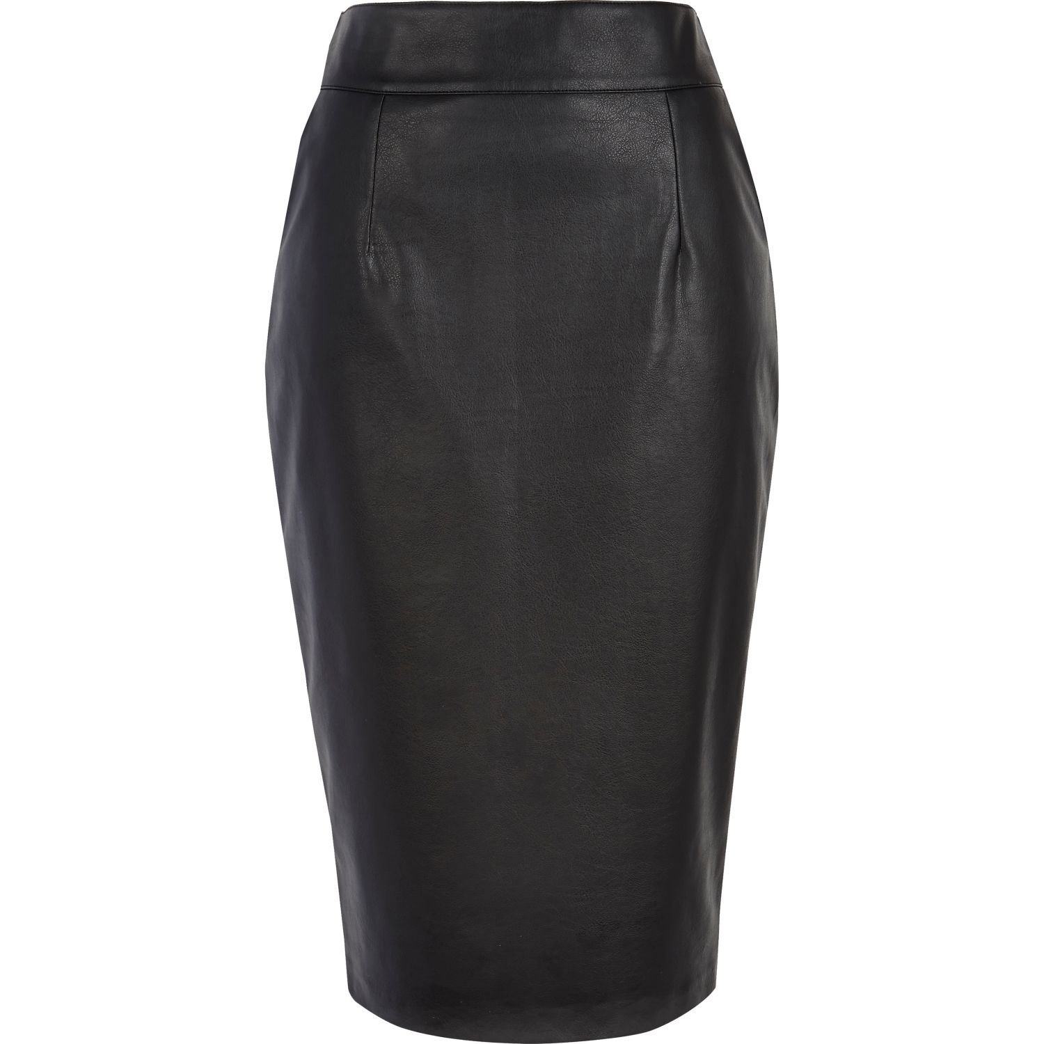 River island Black High Waisted Leather-Look Pencil Skirt in Black ...