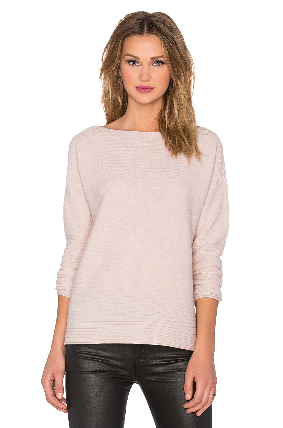 Vince Horizontal Rib Boatneck Sweater in Pink | Lyst