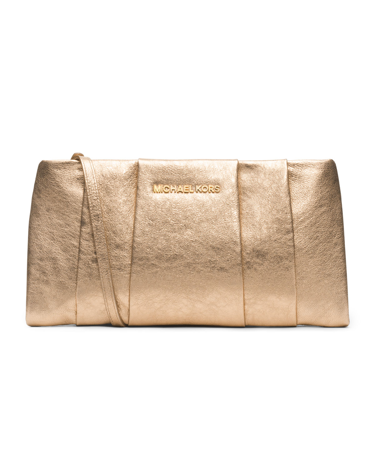 michael kors michael daria metallic clutch in gold pale gold lyst