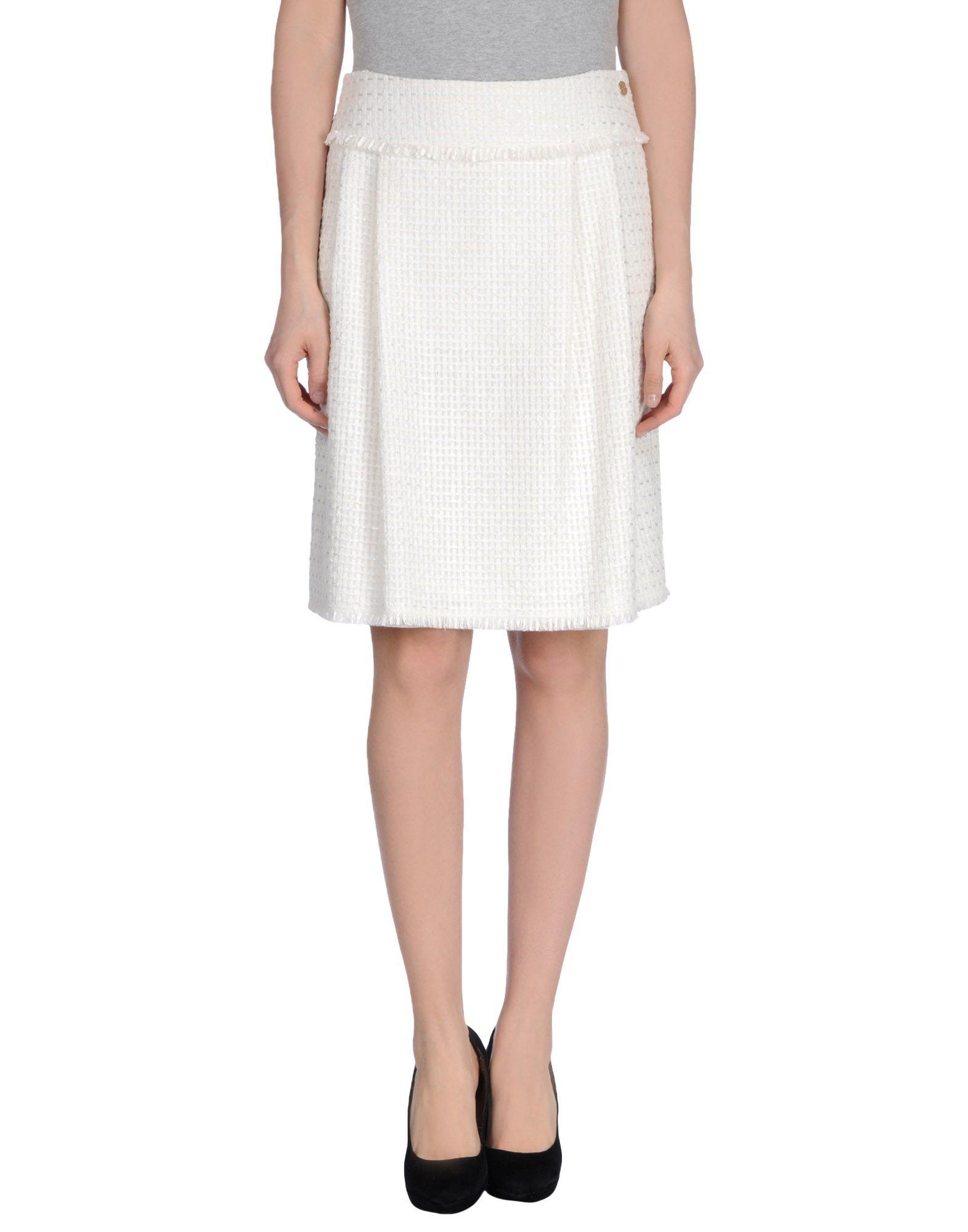 rena lange knee length skirt in white lyst