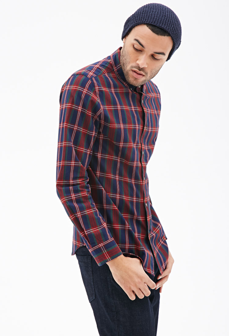 Lyst forever 21 tartan plaid collared shirt in purple for Mixed plaid shirt mens