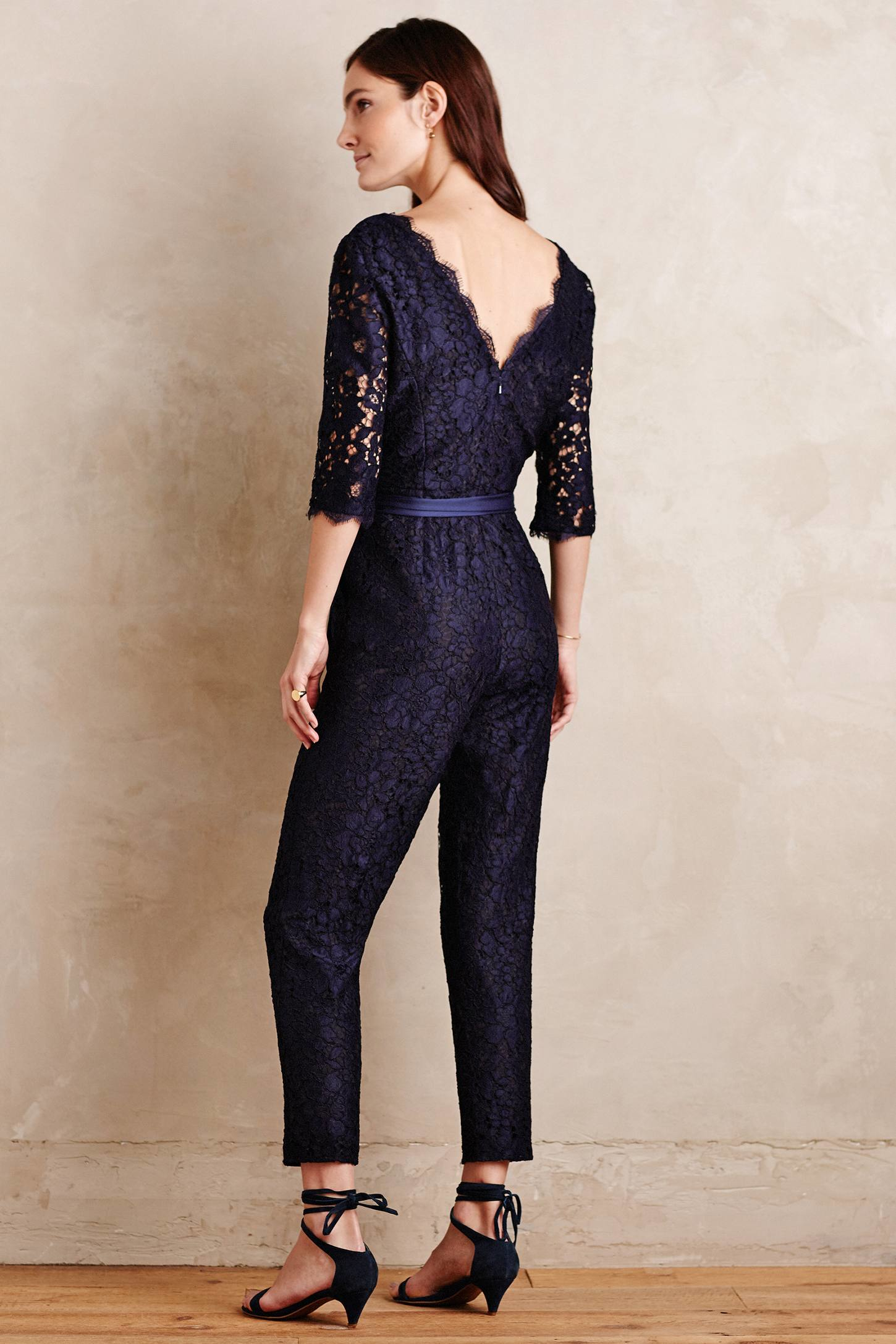 Lyst Elevenses Lace Sleeve Jumpsuit In Blue