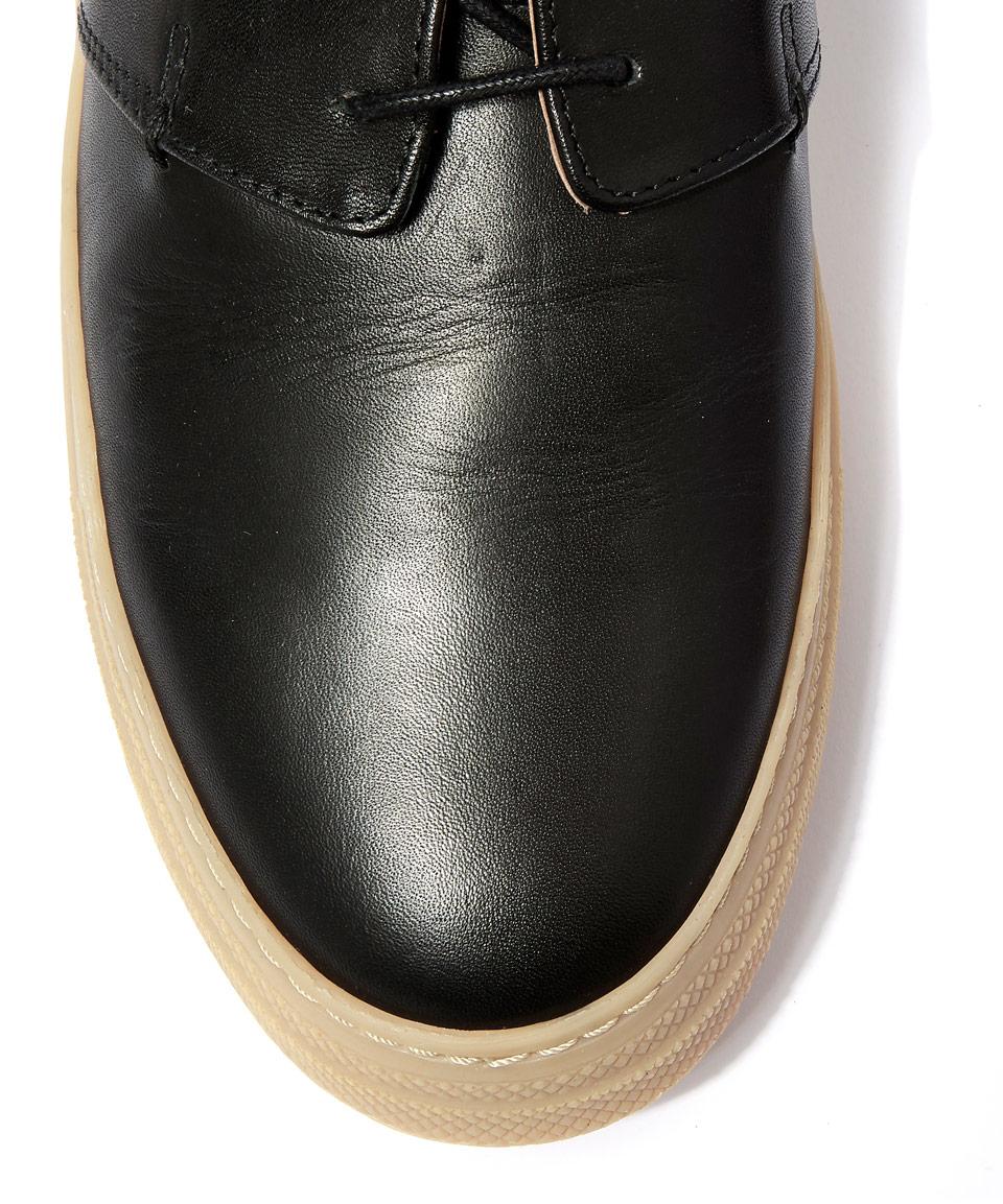 Oliver Spencer Black Beat Leather Shoes for Men