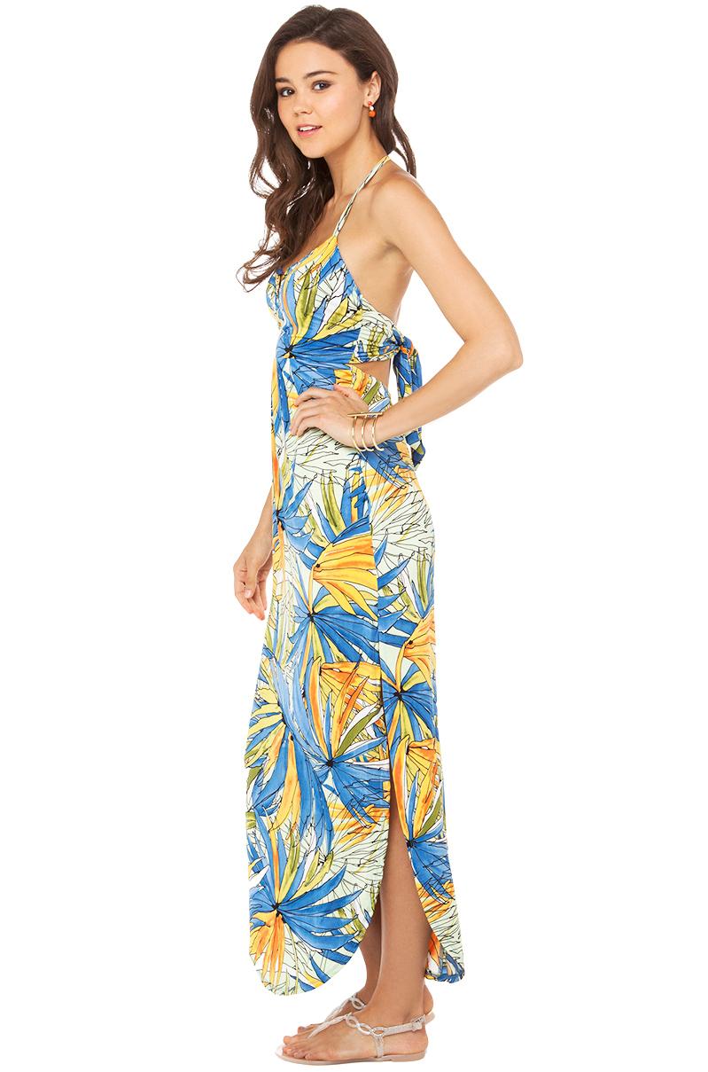 Akira Hawaiian Print Maxi Dress In Denim Blue Mint | Lyst