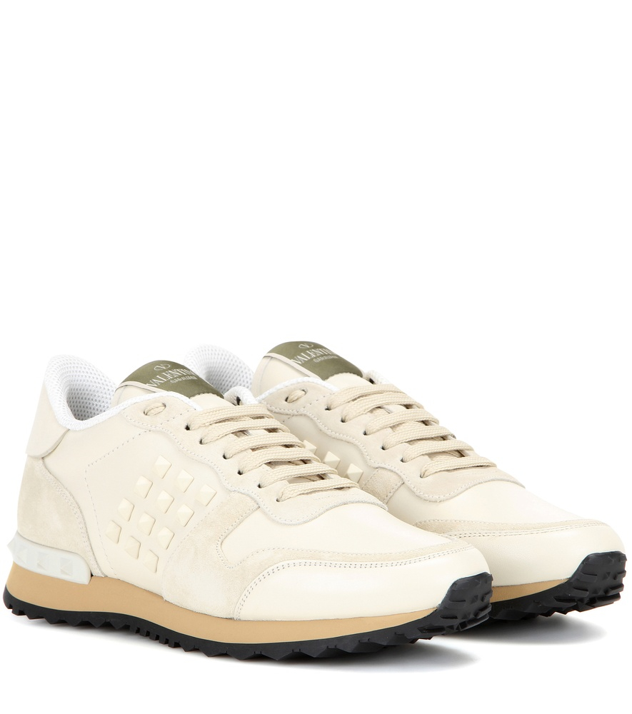 excellent quality professional sale reasonable price Valentino Rockrunner Leather and Suede Sneakers in White - Lyst