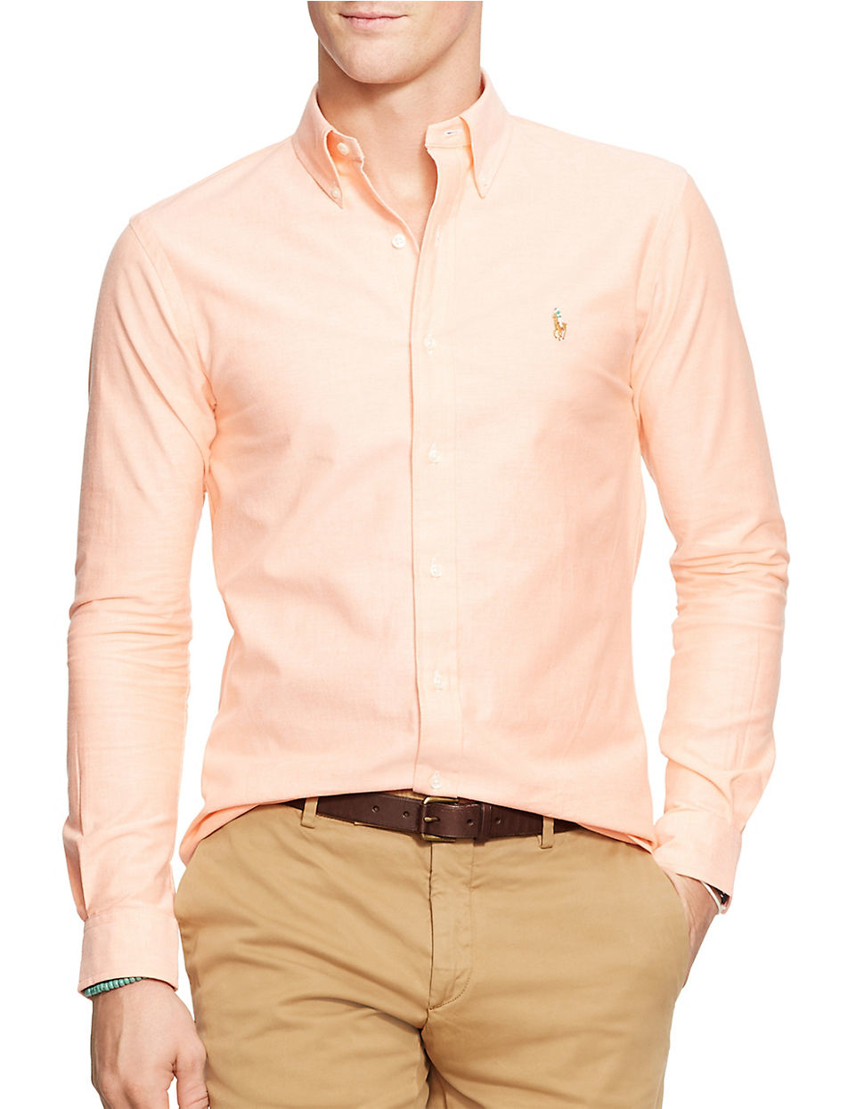 polo ralph lauren slim fit stretch oxford shirt in orange