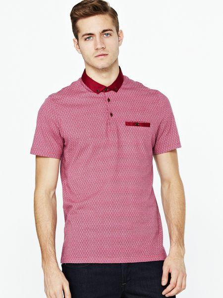 Ted baker ted baker mens allover print polo shirt in pink for Ted baker mens polo shirts