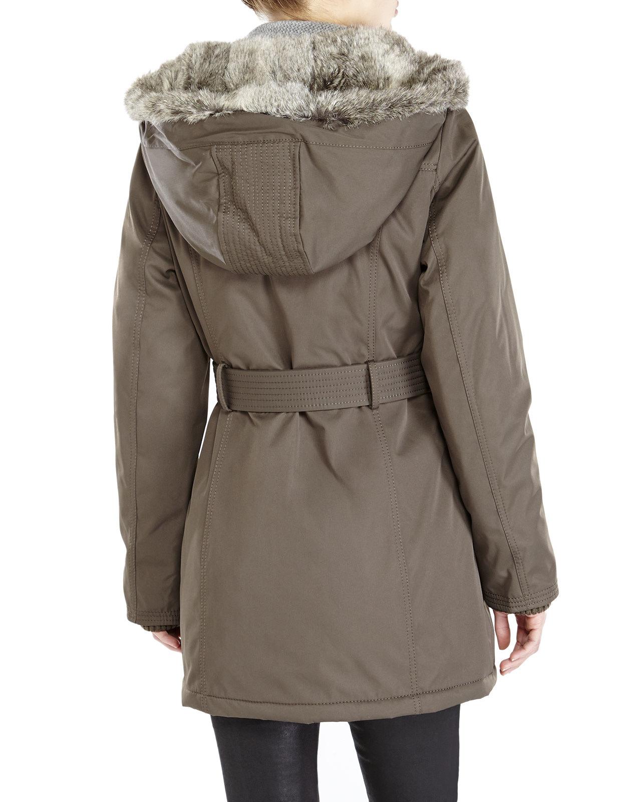 Kensie Faux Fur Trim Hooded Long Coat In Green Lyst