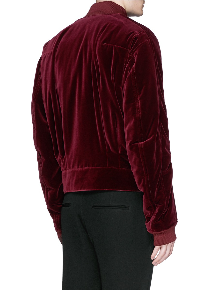 ec73690ed Haider Ackermann Red Ruche Sleeve Velvet Bomber Jacket for men