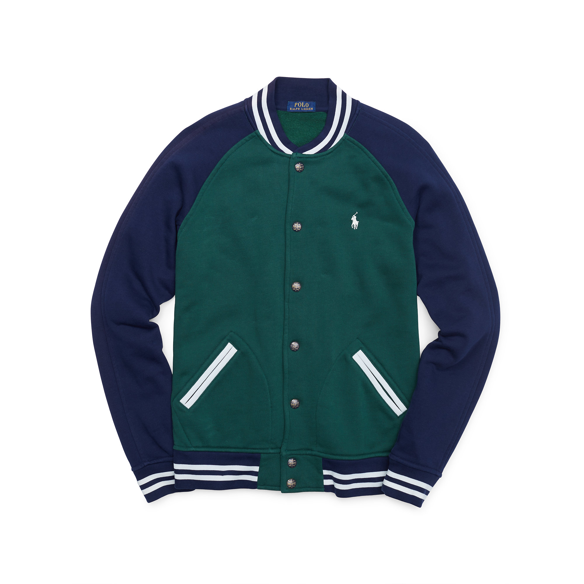 Polo ralph lauren Fleece Baseball Jacket in Green for Men | Lyst