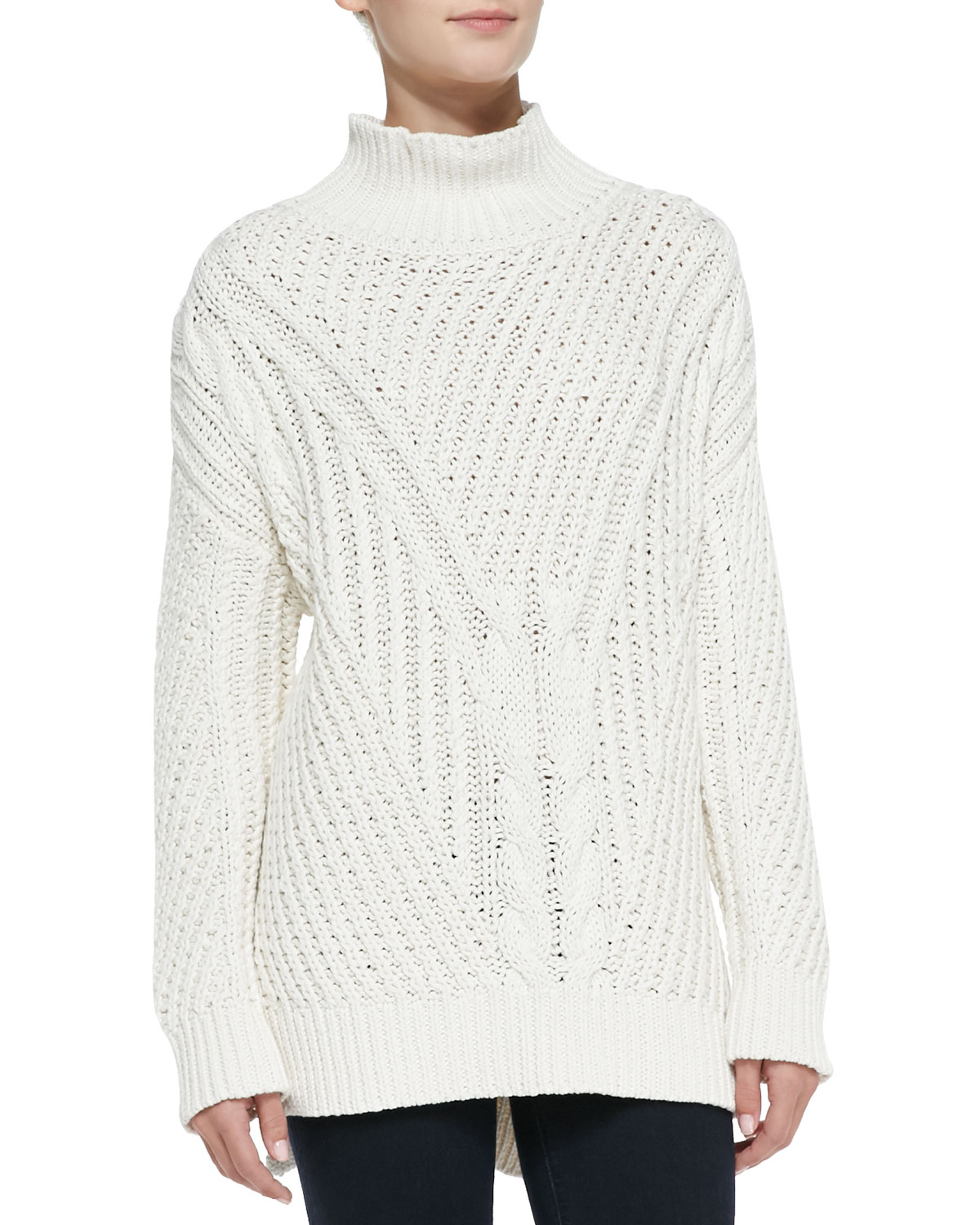b15ef68b6fe 525 America Natural Cable-Knit Mock Turtleneck High-Low Sweater