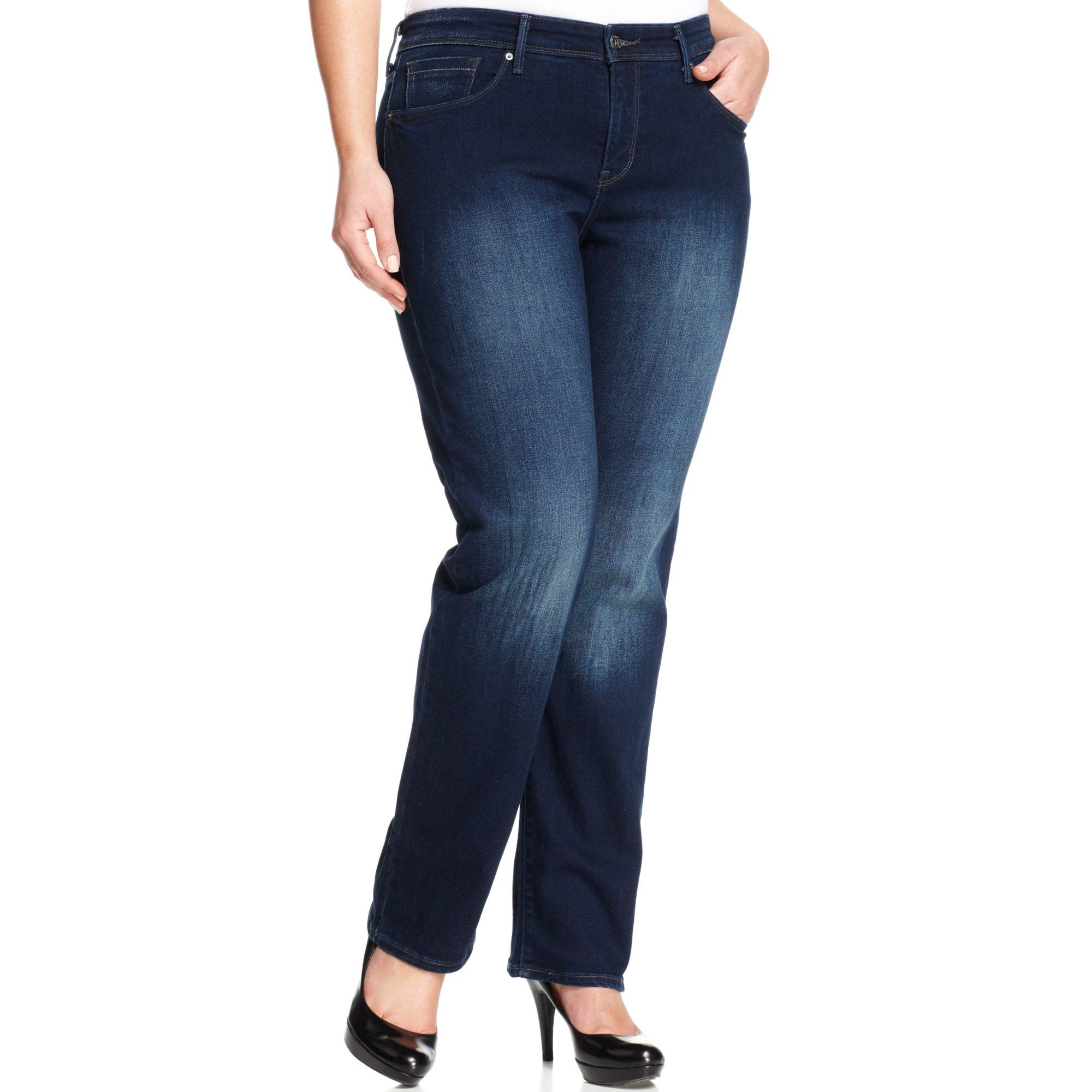 levi 39 s levi plus size 512 perfectly shaping straightleg jeans hidden dark sea wash in blue. Black Bedroom Furniture Sets. Home Design Ideas