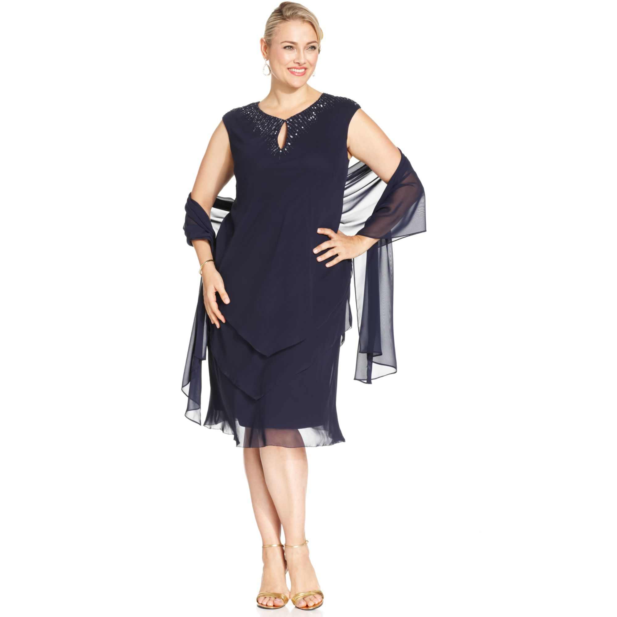 Alex Evenings Plus Size Beadtrim Tiered Dress and Shawl in Blue - Lyst