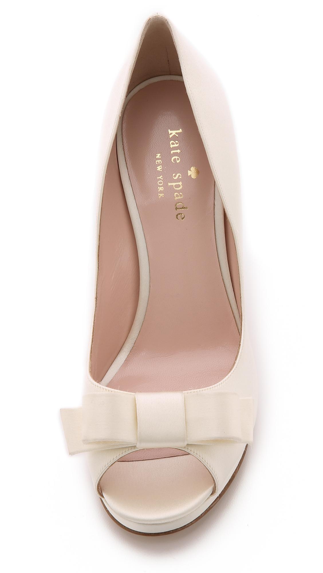 kate spade felisha bow peep toe pumps ivory in beige. Black Bedroom Furniture Sets. Home Design Ideas