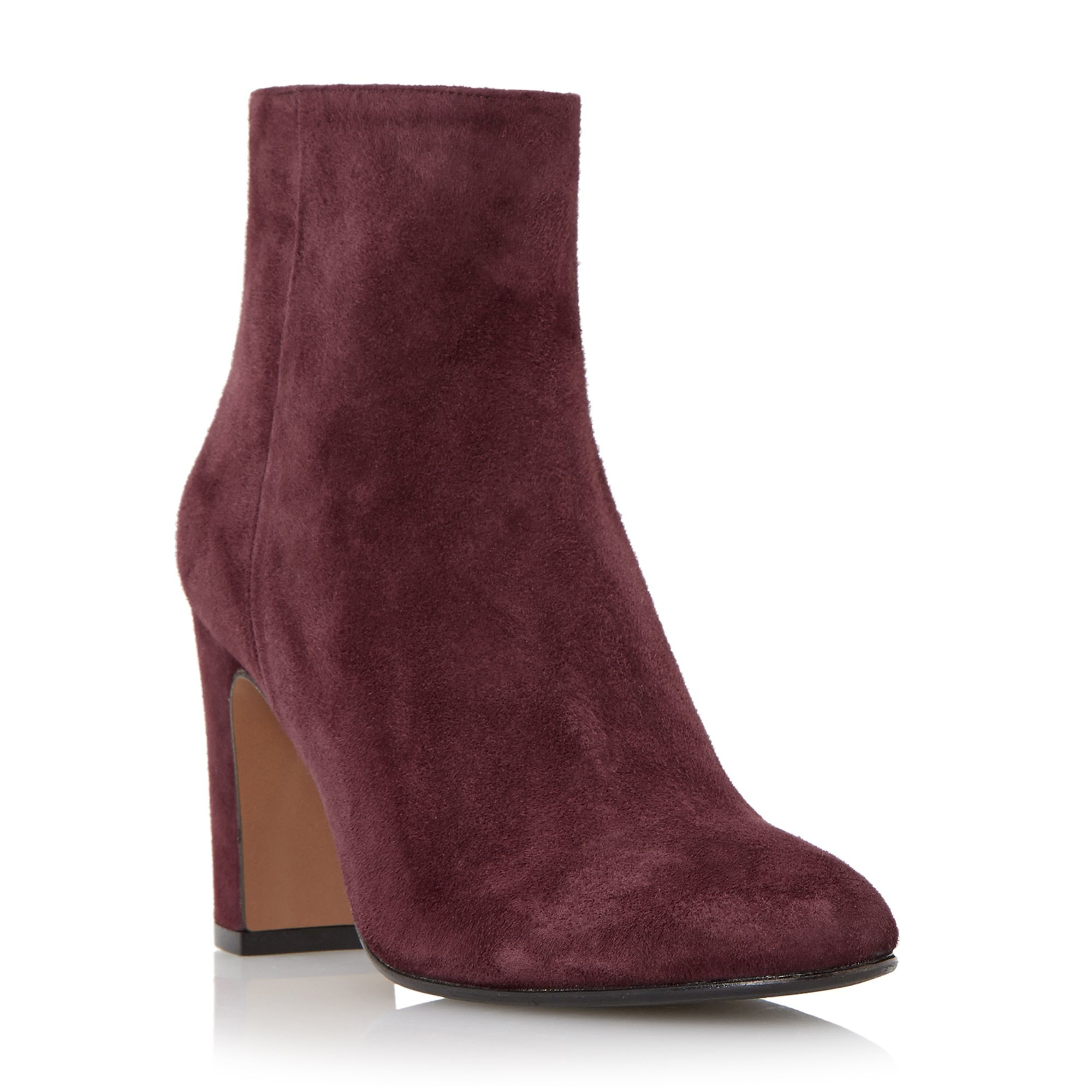 dune black ophira suede almond toe ankle boots in purple