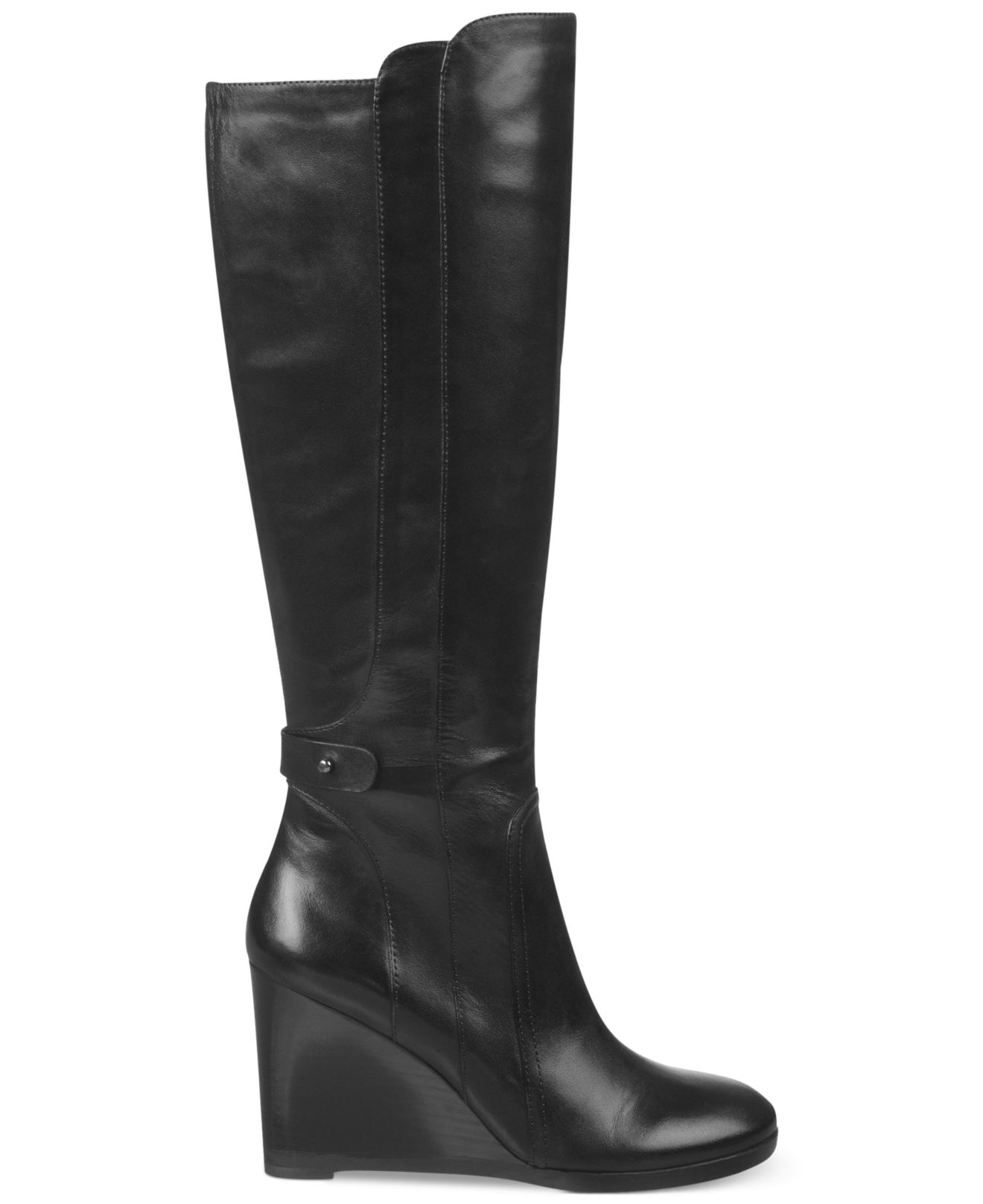franco sarto walker wedge boots in black lyst