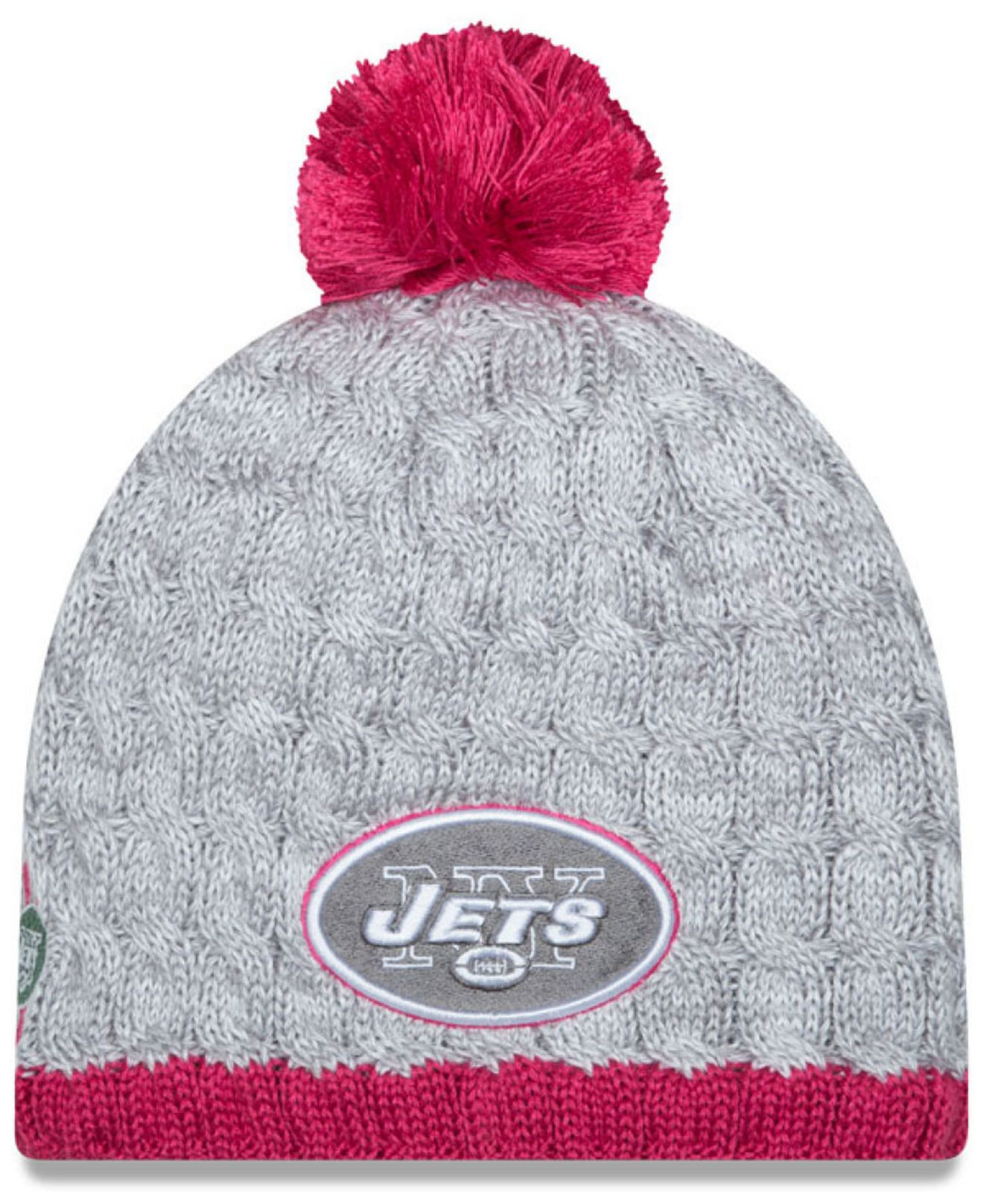 b173b0c4f ... inexpensive lyst ktz womens new york jets breast cancer awareness knit  hat in 19e67 3cf07