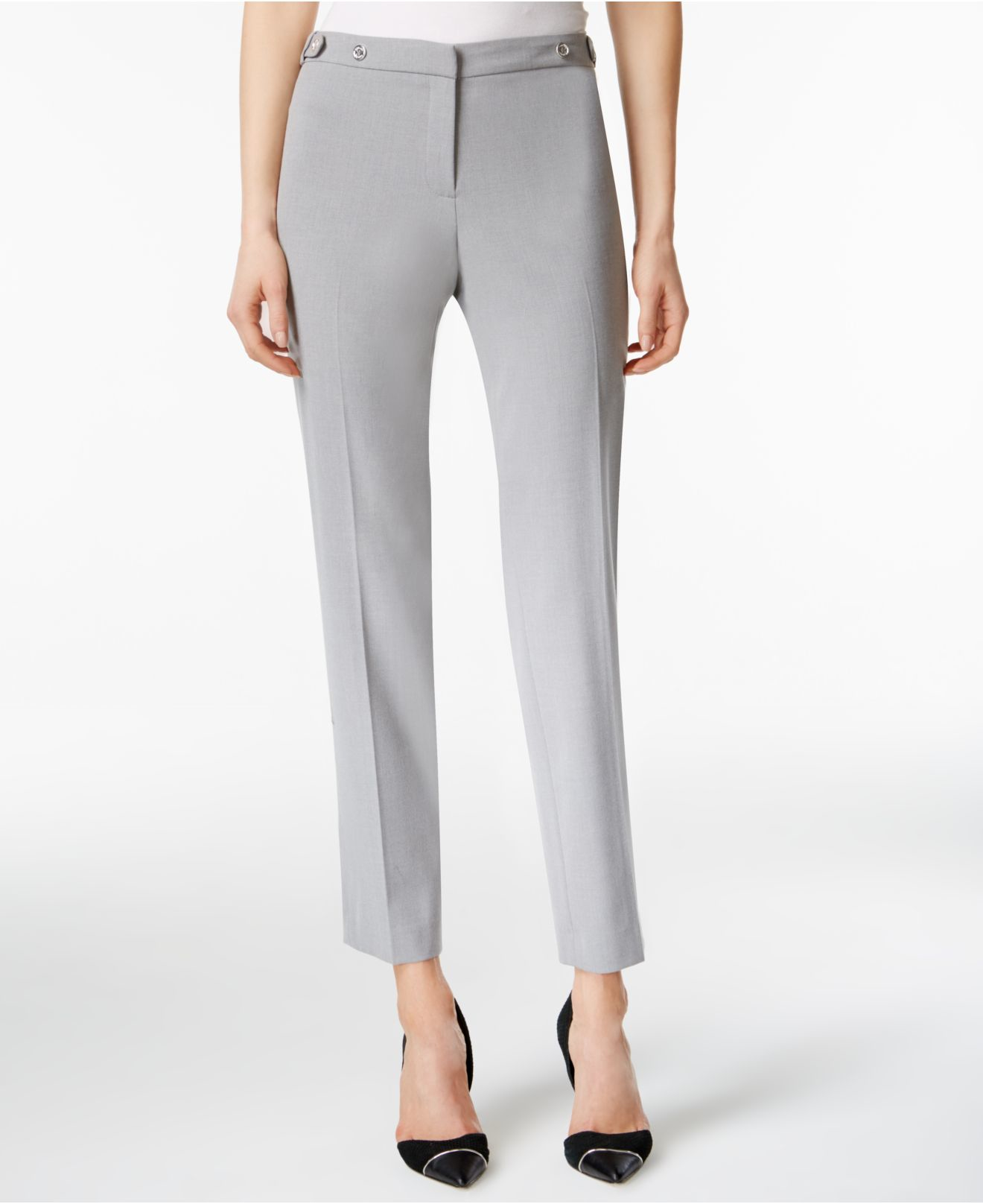 Original Calvin Klein Cropped Zipaccent Pants In Black  Lyst