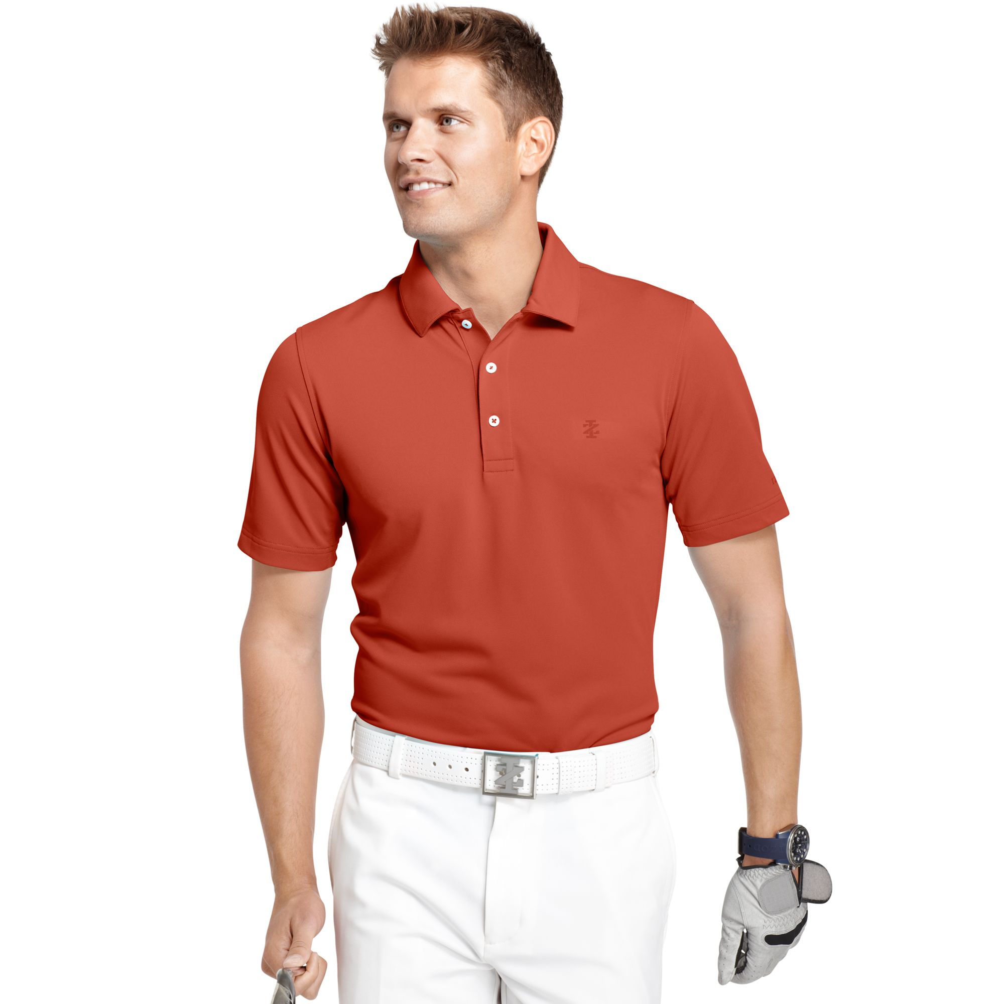 Izod Big And Tall Solid Pique Performance Golf Polo In Red