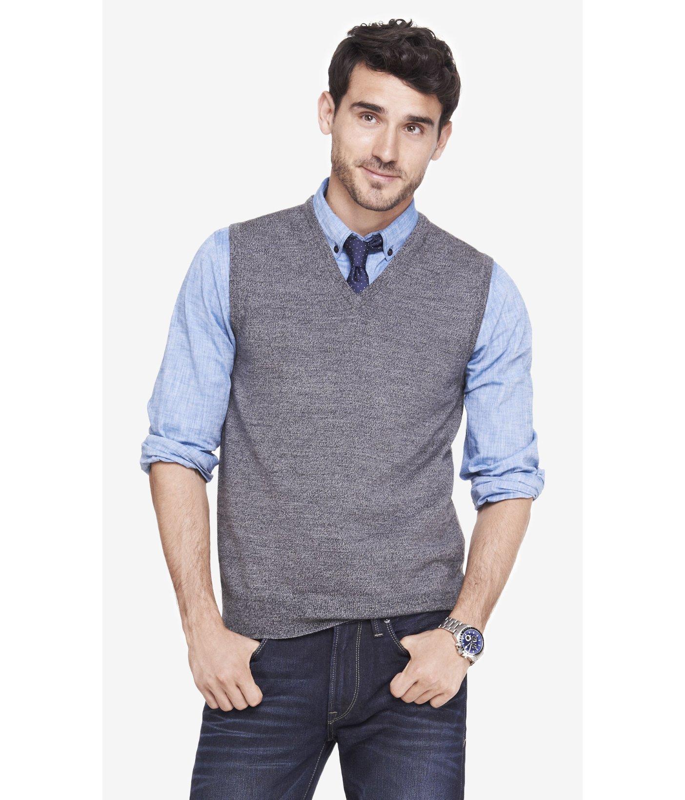 Express Merino Wool Sweater Vest in Gray for Men | Lyst