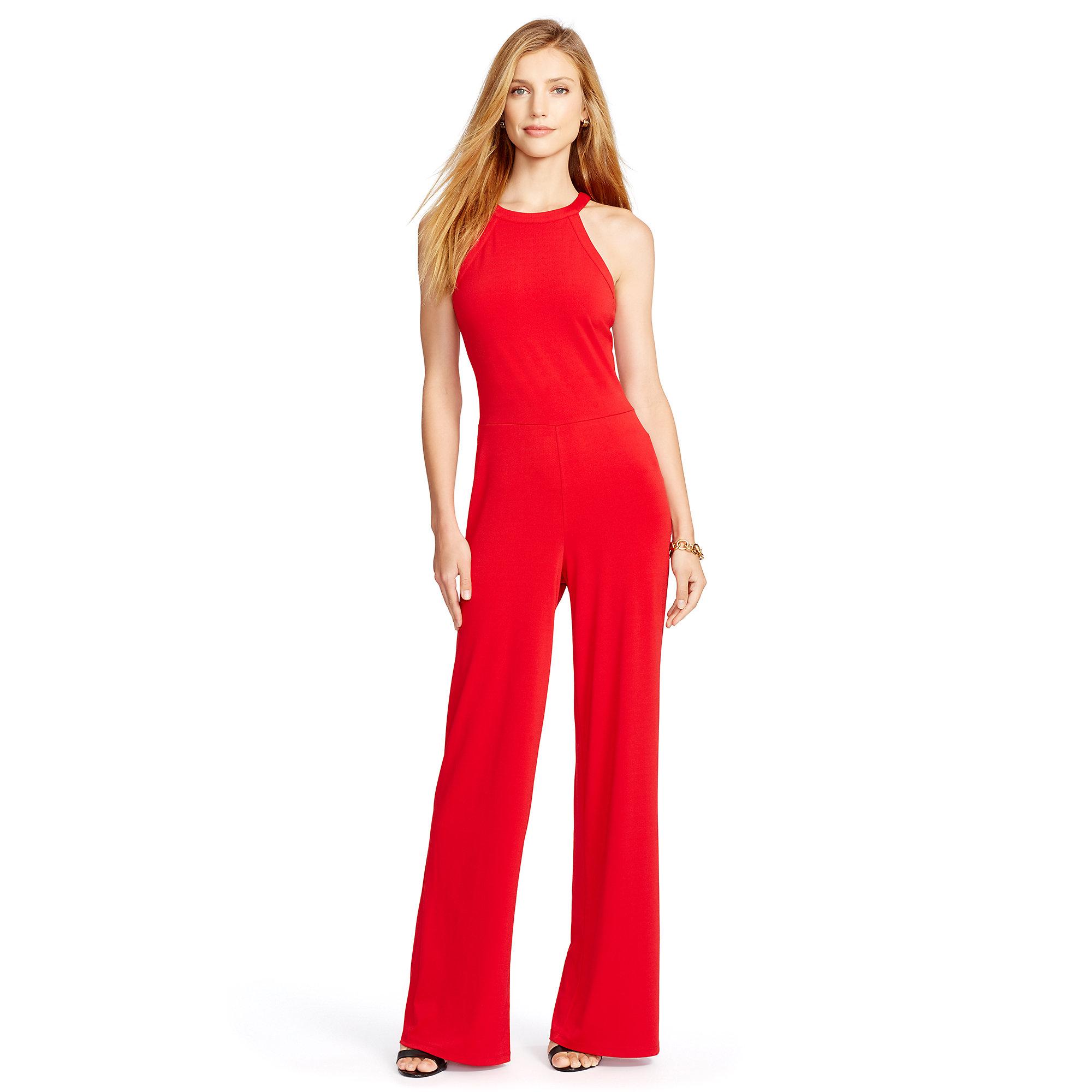 d5392dc5825 Ralph Lauren Sleeveless Wide-leg Jumpsuit in Red - Lyst