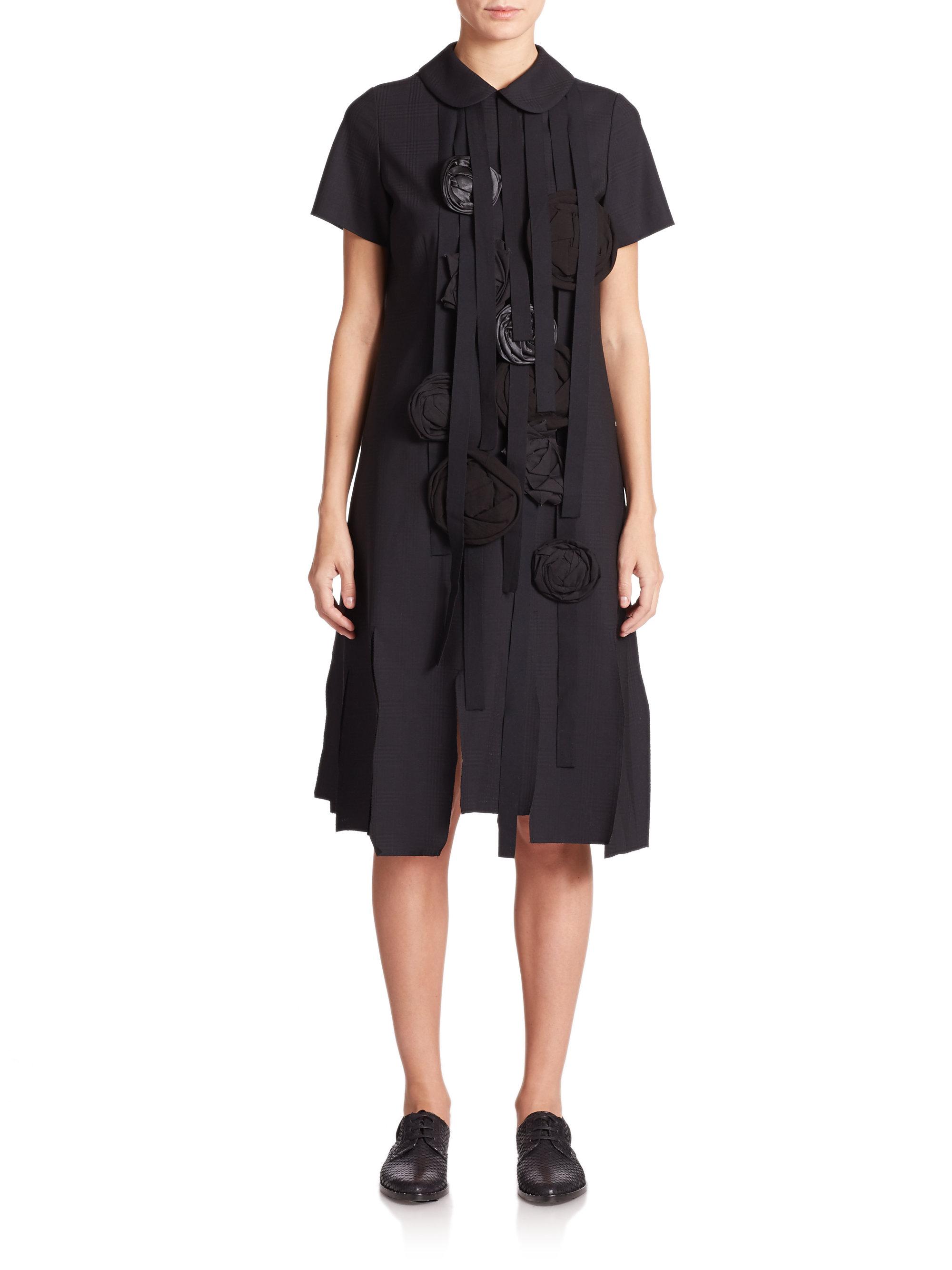 lyst comme des gar ons flower applique dress in black. Black Bedroom Furniture Sets. Home Design Ideas