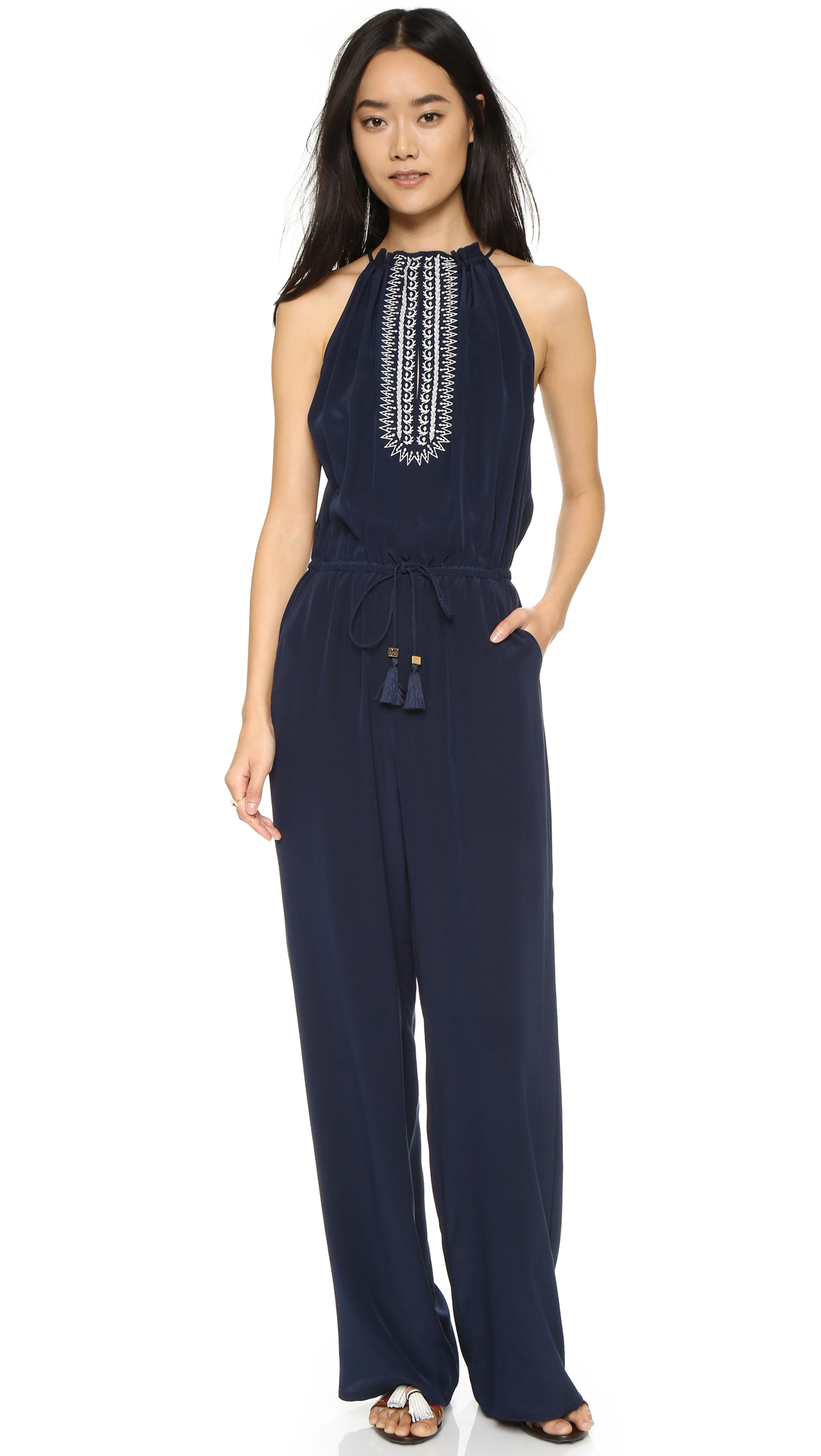 Tory burch embellished jumpsuit in blue lyst for Tory burch fashion island