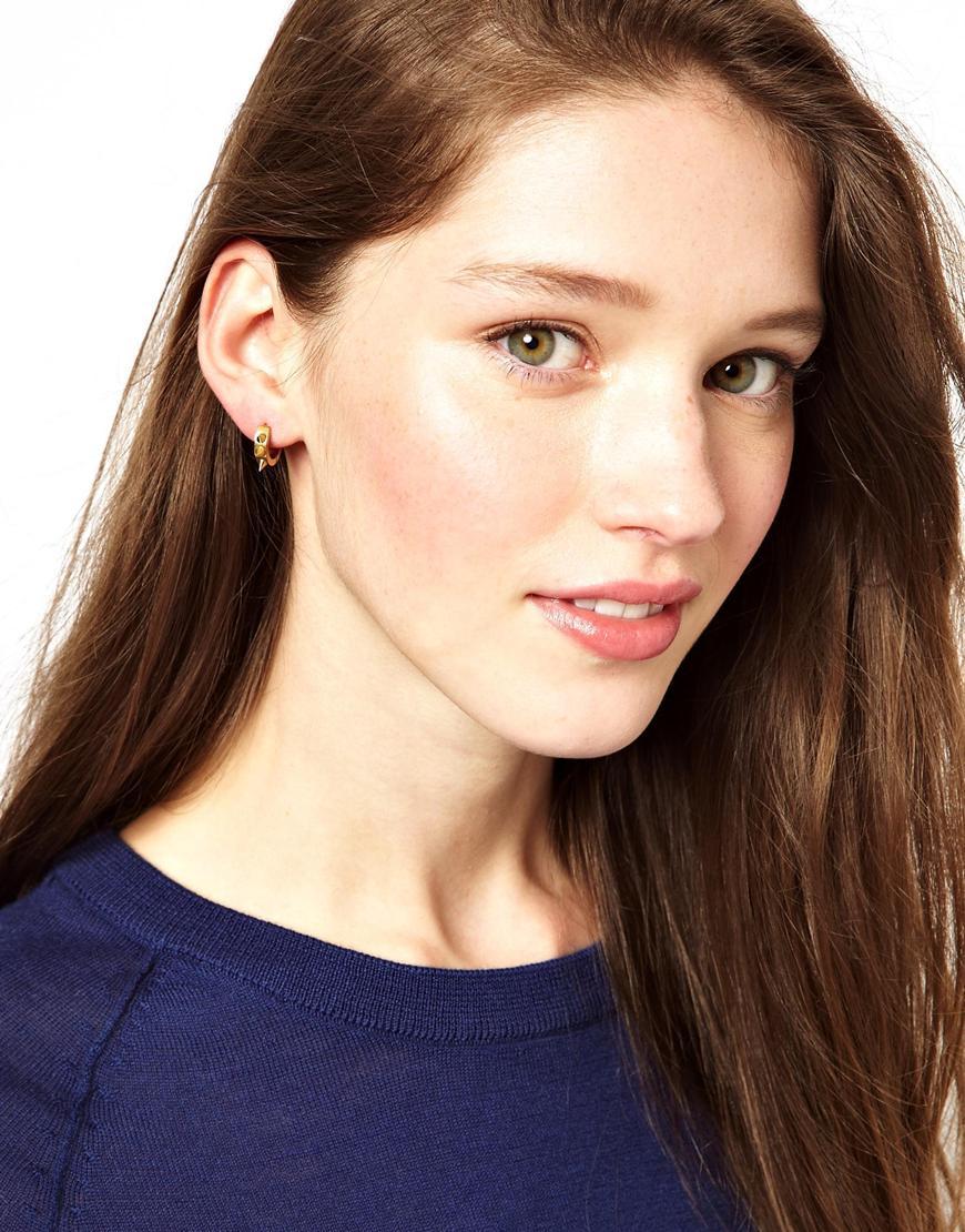 Maria Francesca Pepe Gold Spike Hoop Earrings in Metallic - Lyst