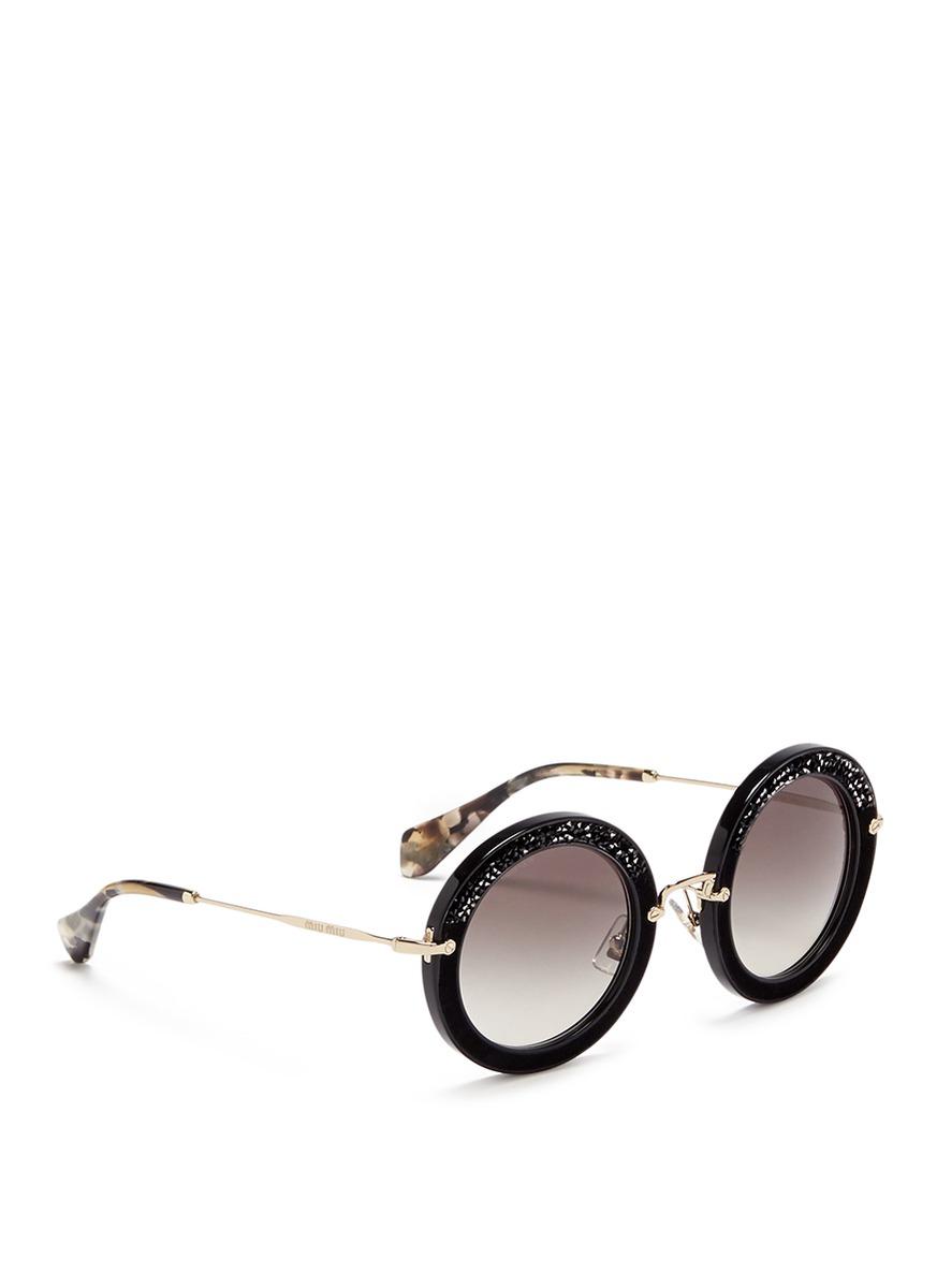 Miu Miu 'noir' Crystal Embellishment Suede Rim Acetate Round Sunglasses in Black,Animal Print (Black)