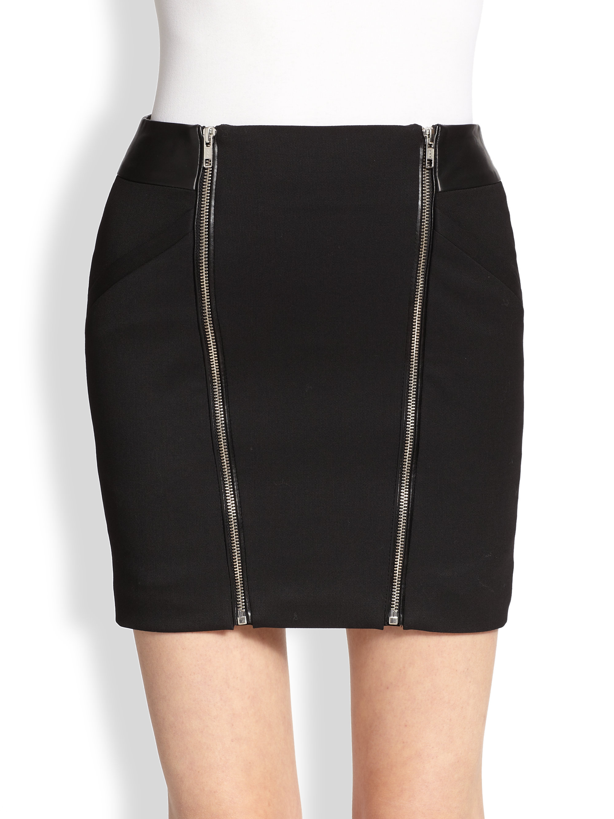 the kooples leather trimmed stretch wool mini skirt in