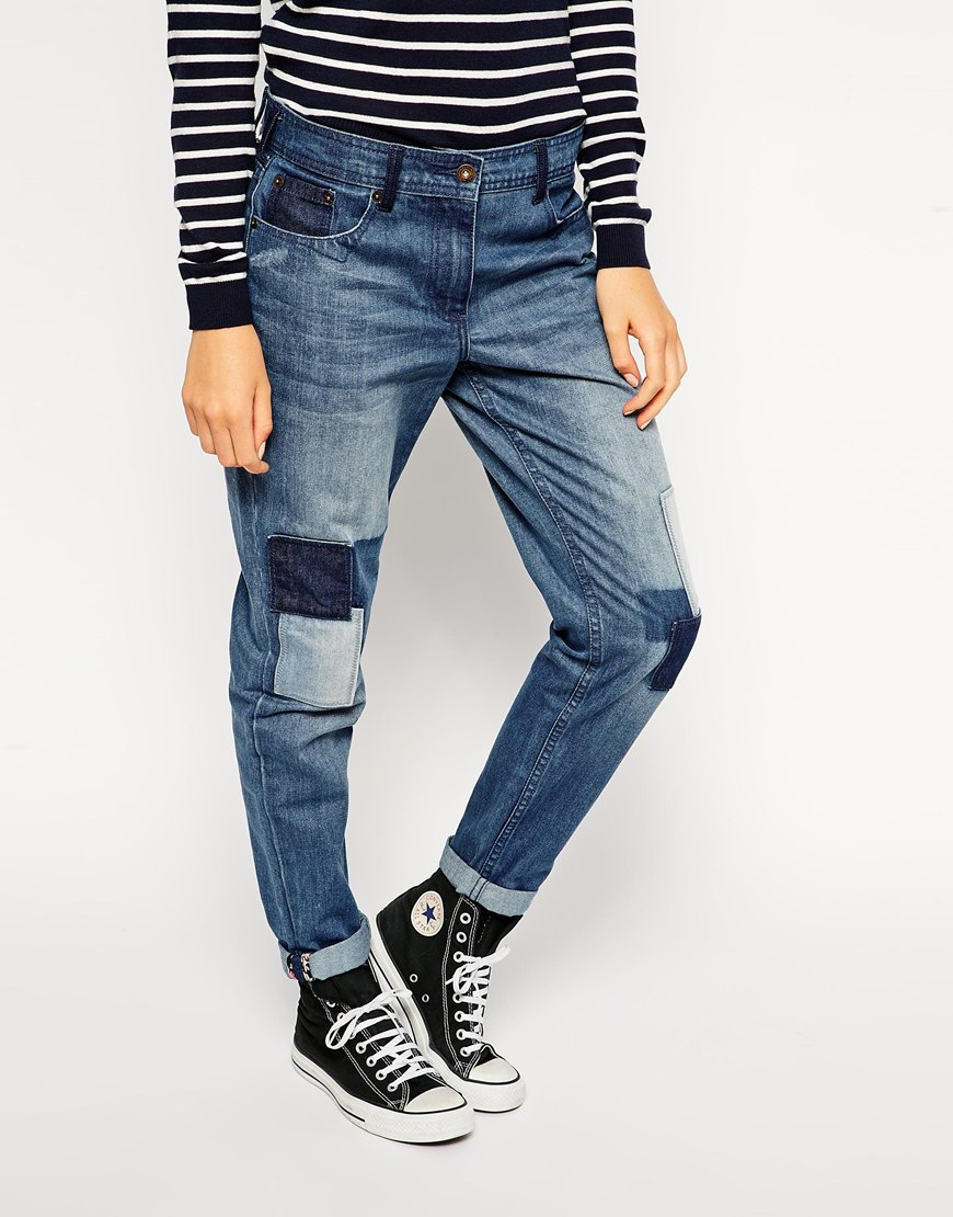 Lyst - Bellfield Boyfriend Jeans With Patches in Blue
