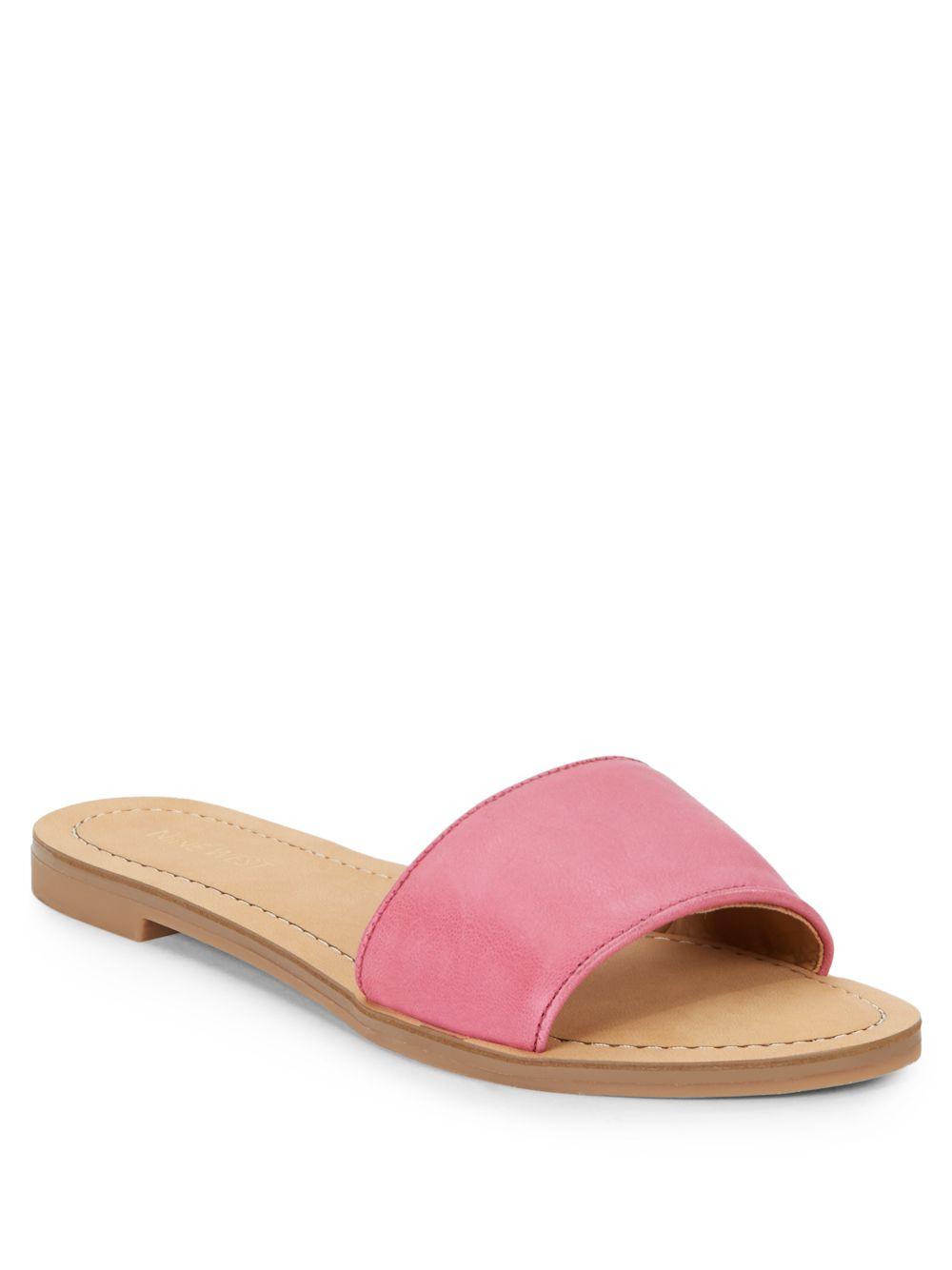 Nine West Summers Leder Slide Sandales in Pink Lyst
