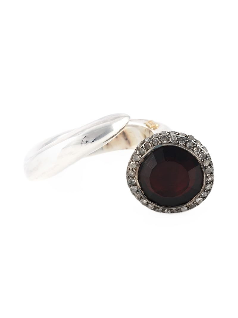 Rosa Maria Garnet And Diamond Ring in Metallic