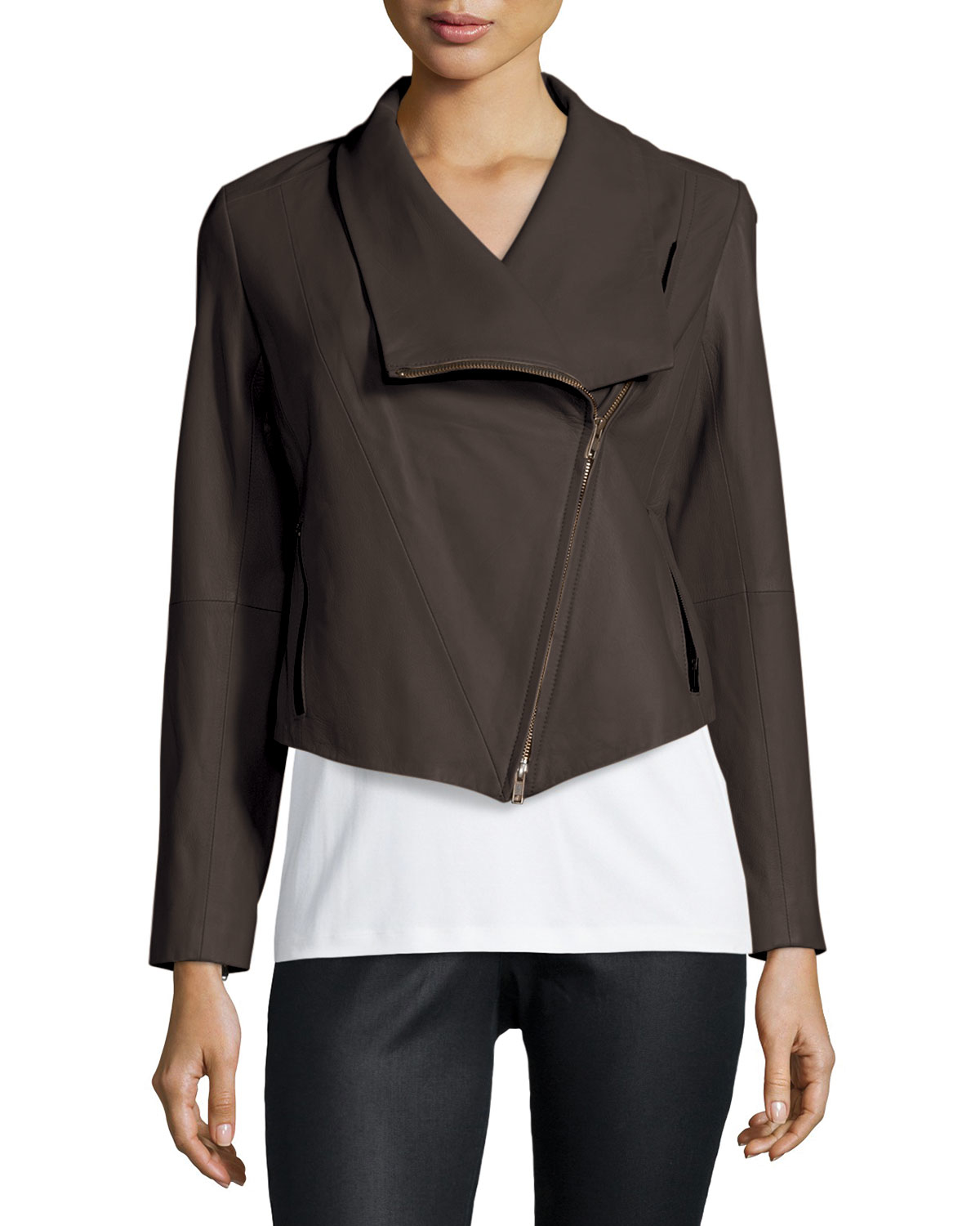 Lyst Eileen Fisher Fisher Project Leather Draped Jacket
