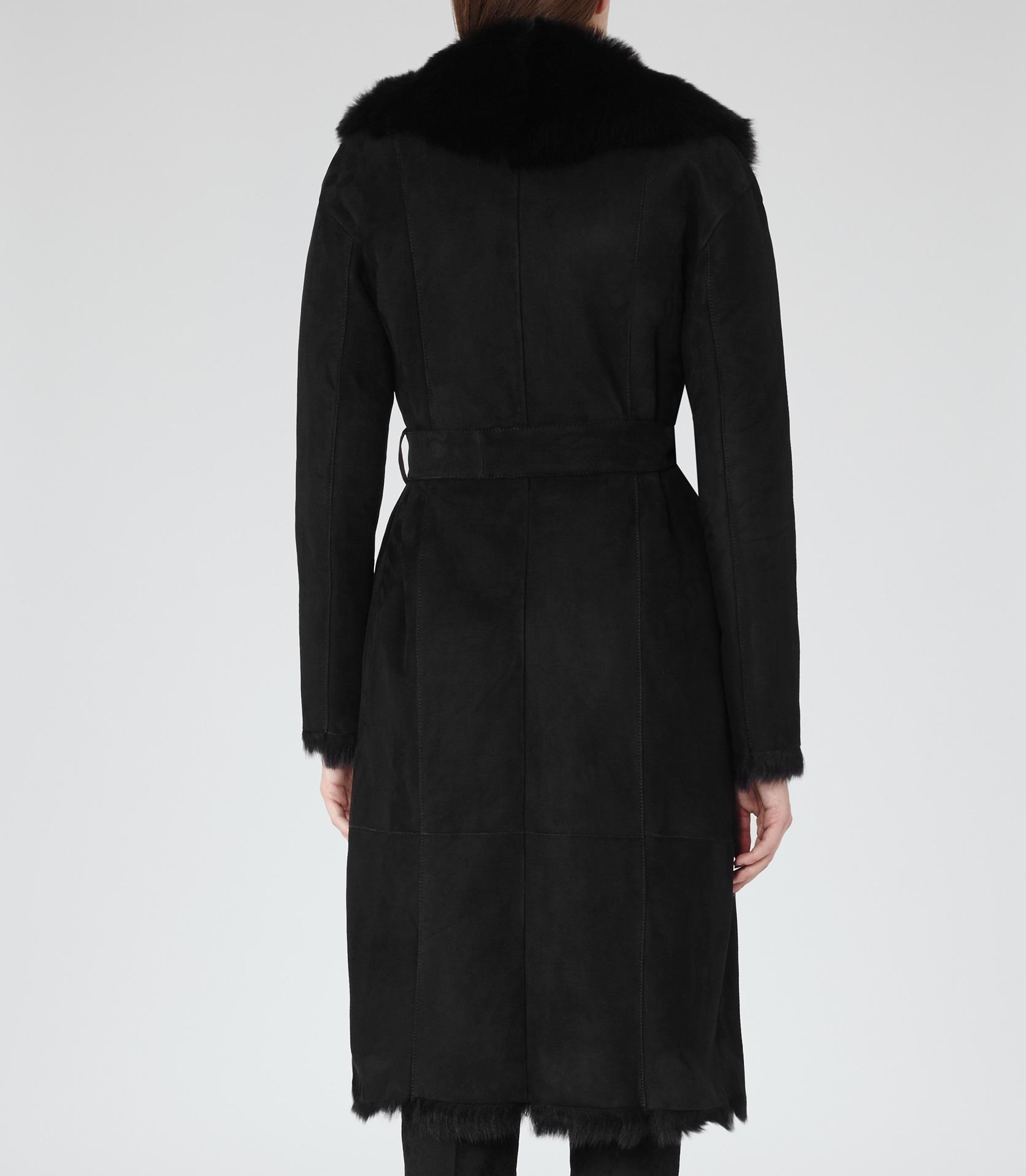 Reiss Biba Shearling Wrap Coat in Black | Lyst