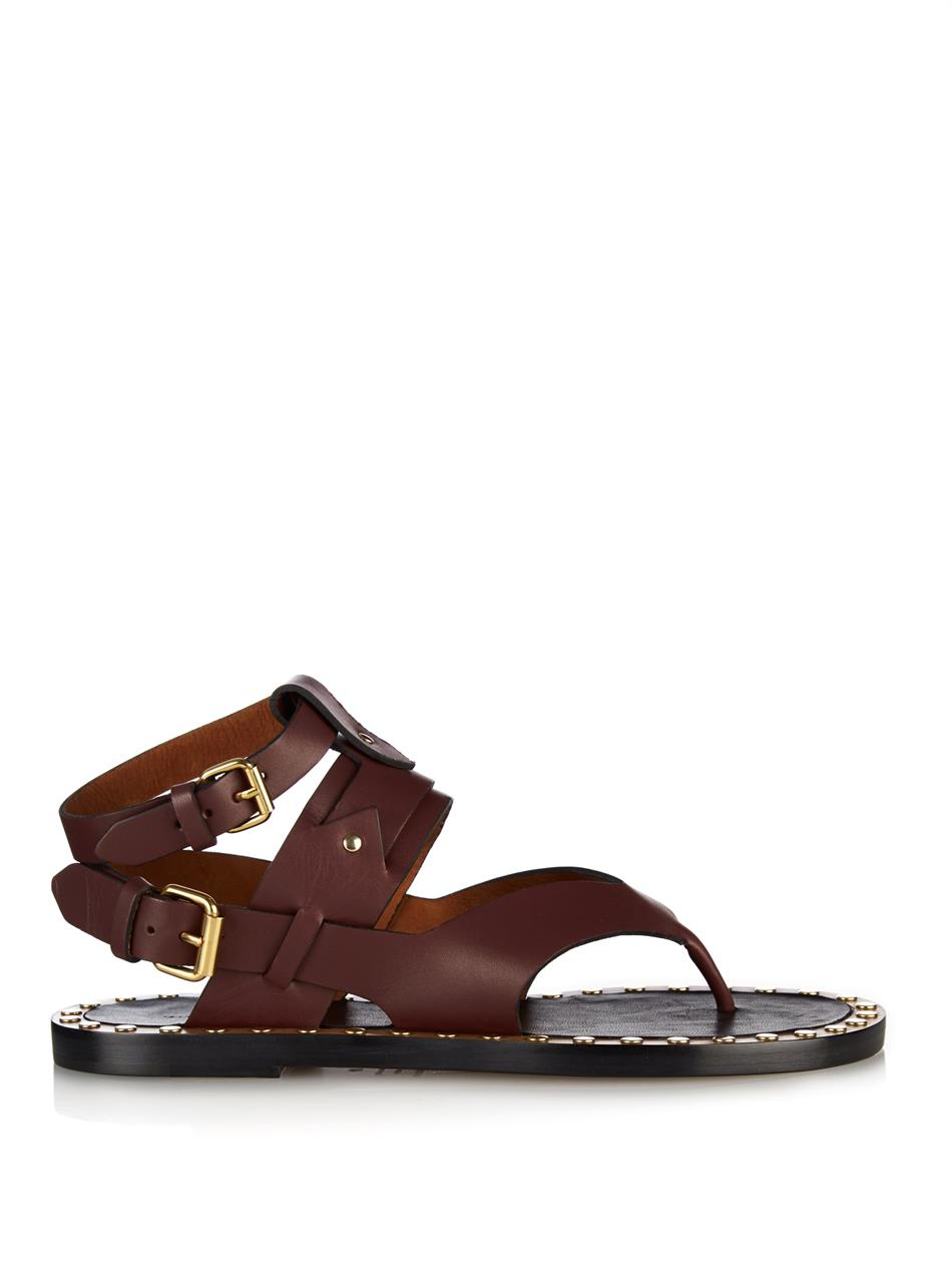Isabel Marant Justy Leather Sandals In Purple Lyst