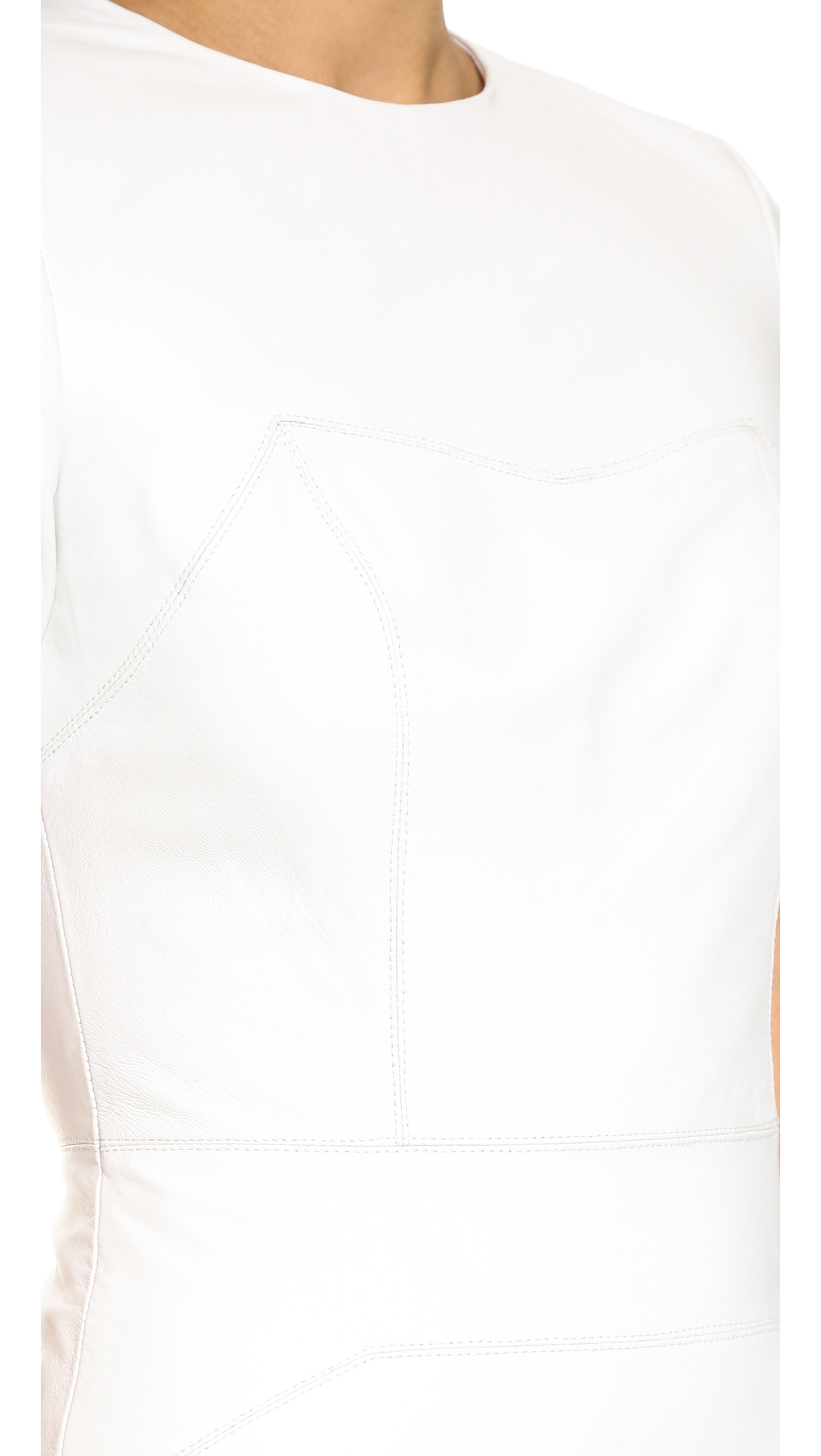 8a38e8df55c Kendall + Kylie Leather Short Sleeve Dress in White - Lyst