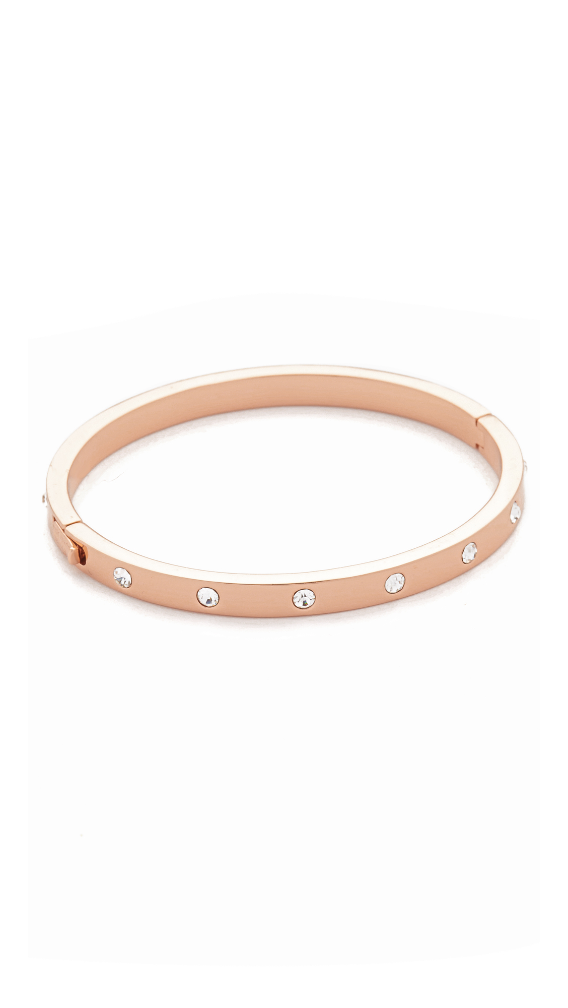 Kate Spade Set In Stone Hinged Bangle In Gold Clear Rose