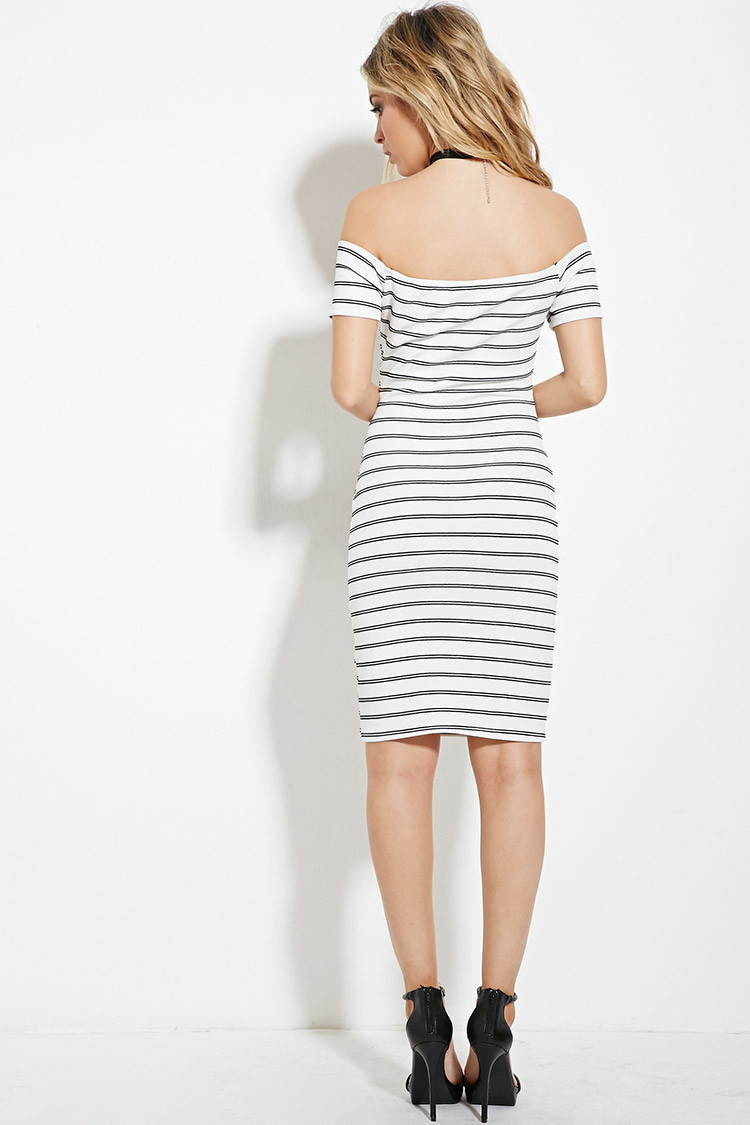 04ebe15c034 Forever 21 Striped Off-the-shoulder Dress in Black - Lyst