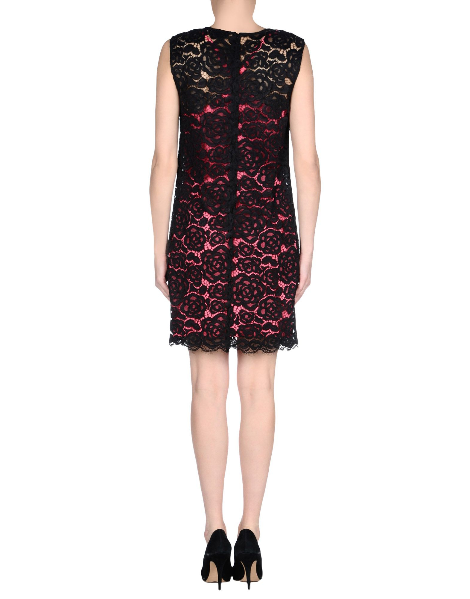 Dkny Gold Lace Belted Dress in Black | Lyst