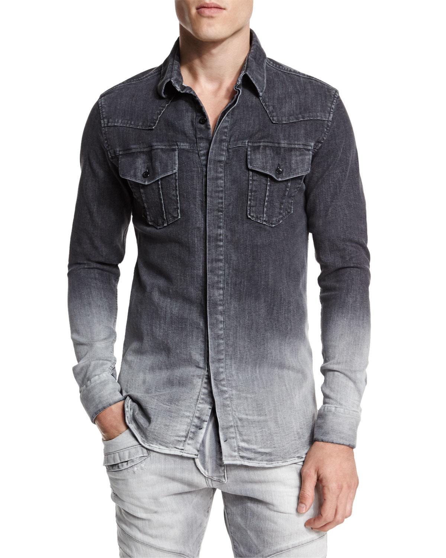 Balmain Ombre Denim Button Down Shirt In Gray For Men Lyst