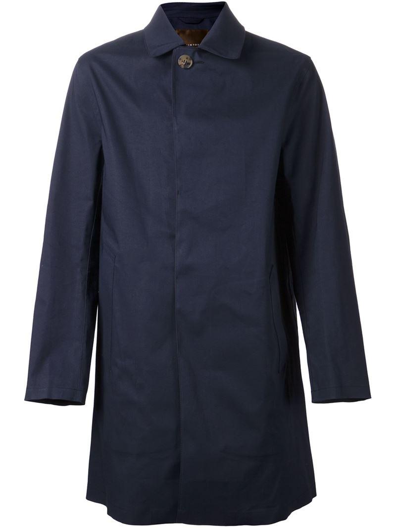 Mackintosh Classic Cotton Raincoat in Blue for Men - Lyst