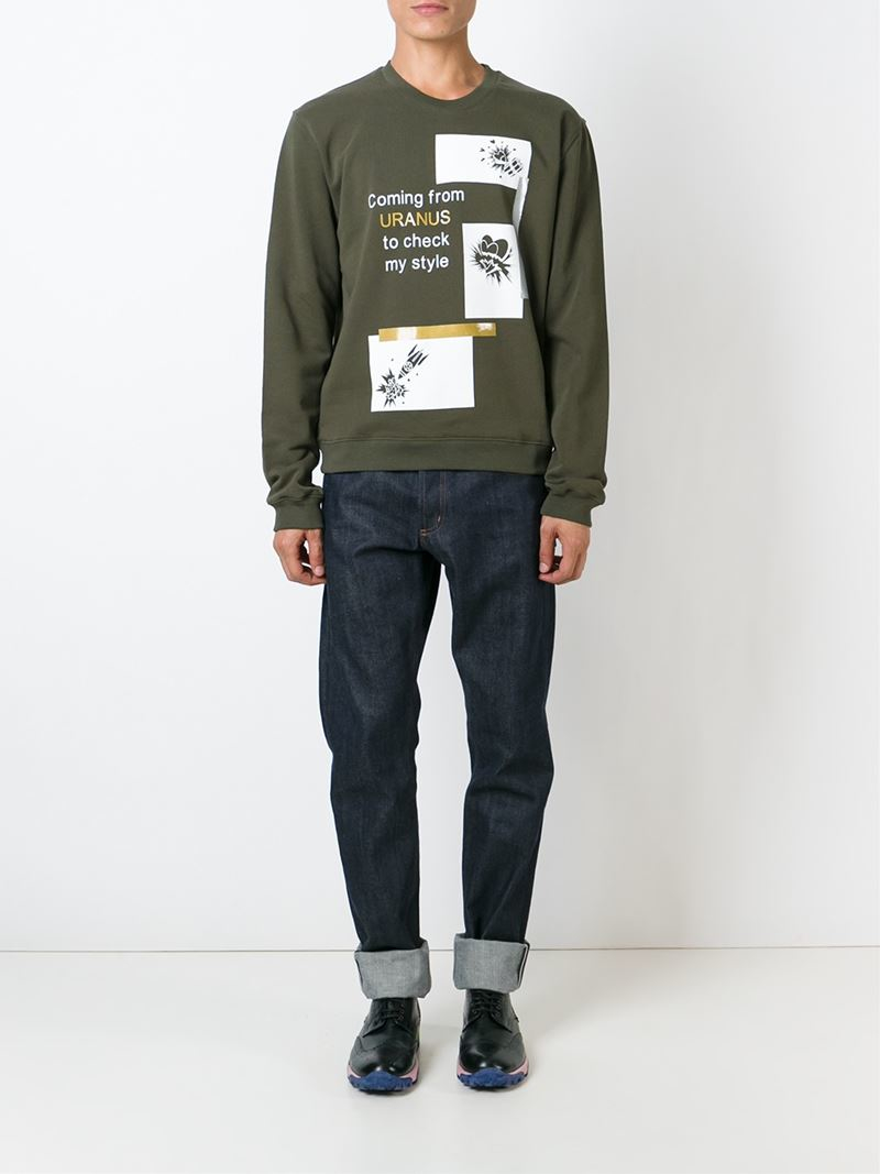 Msgm Print Cotton Sweater in Green for Men